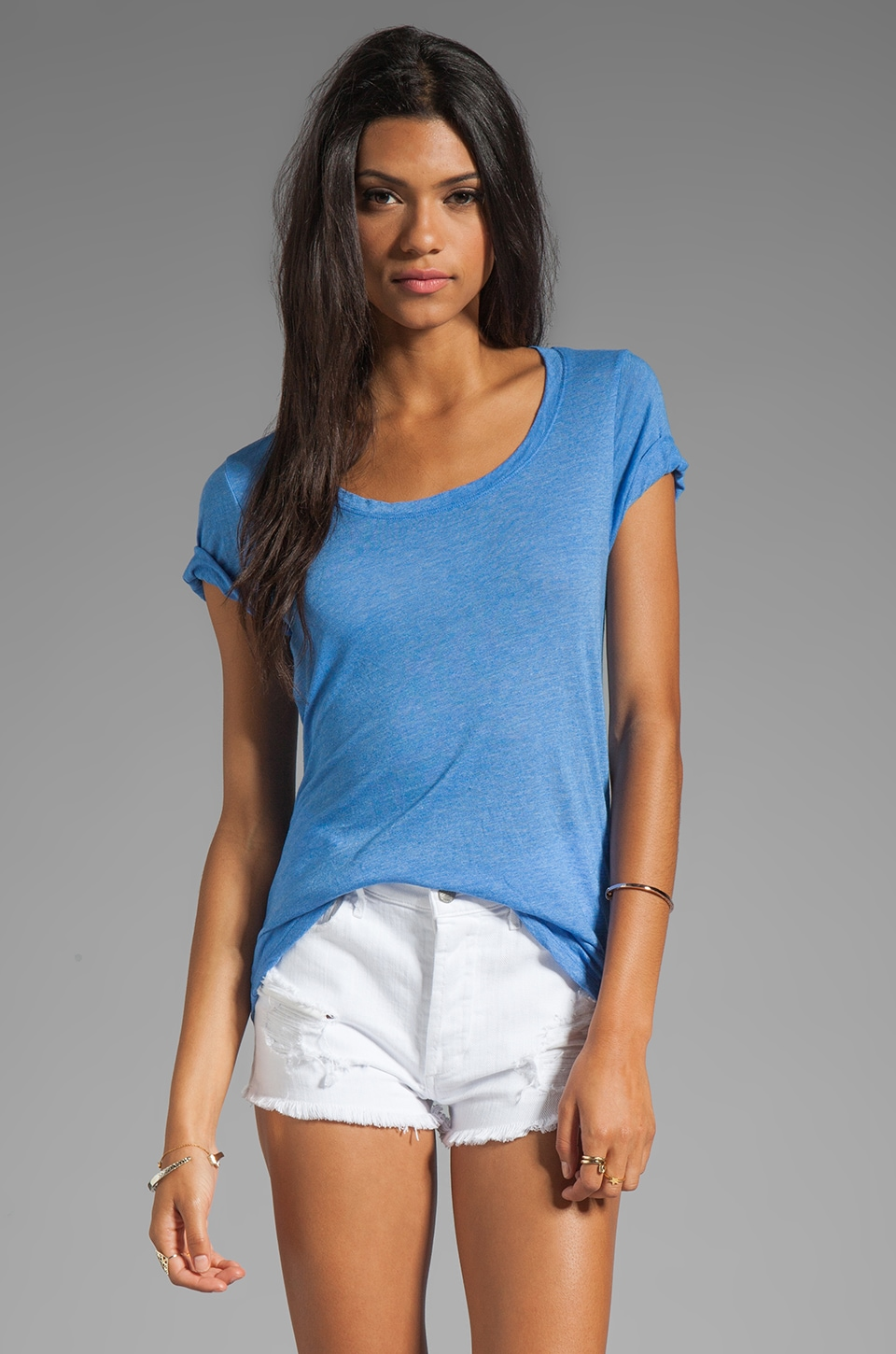 MONROW Tissue Basic Over-Sized Tee in Ocean