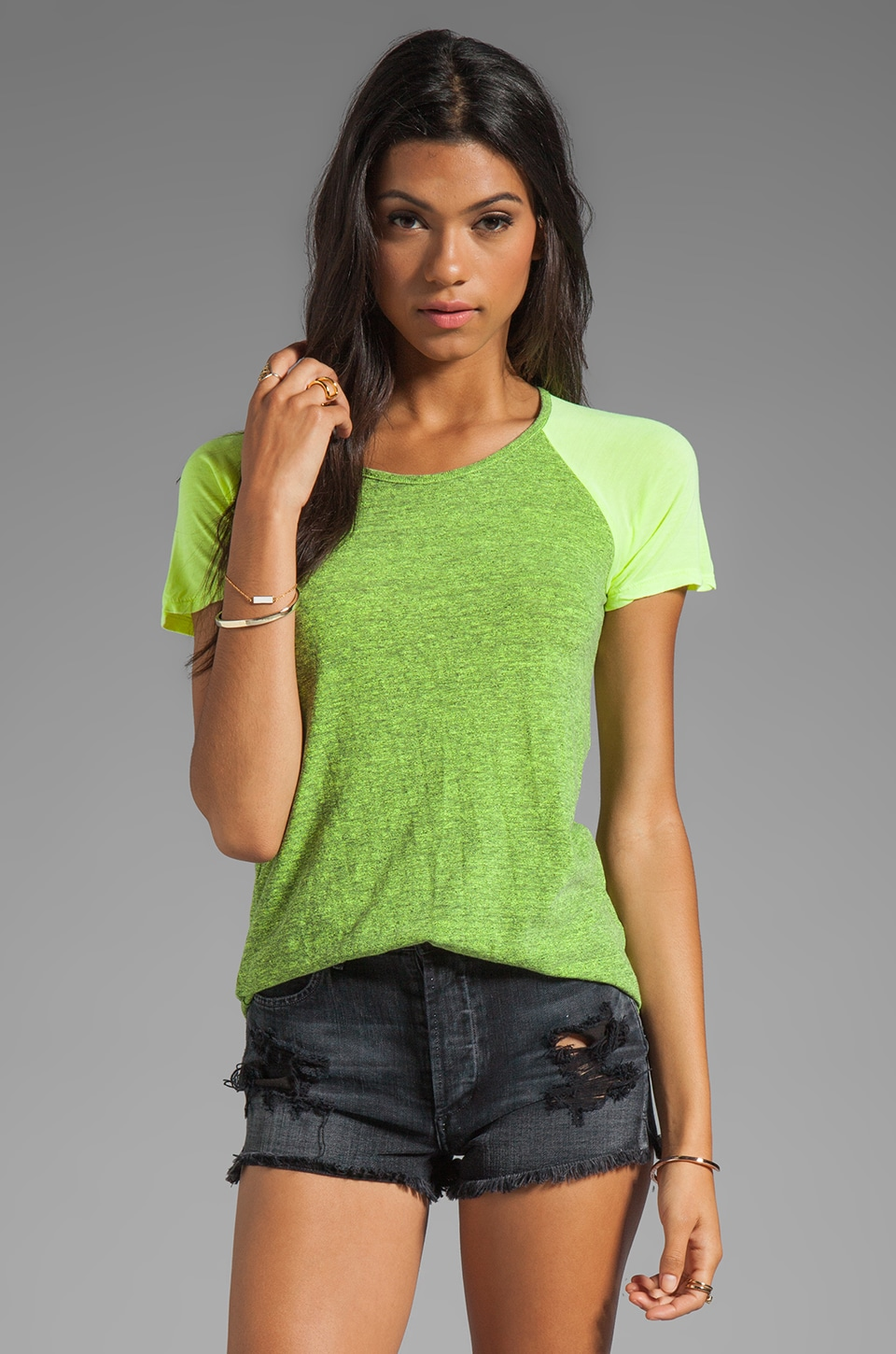 MONROW Granite Novelty Baseball Tee in Neon Citron