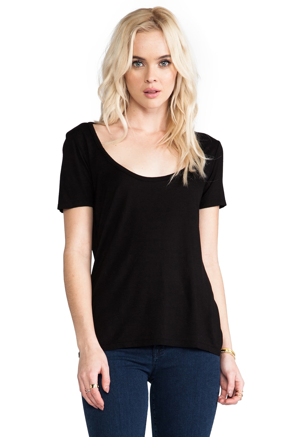 MONROW Rayon Crew Tee in Black