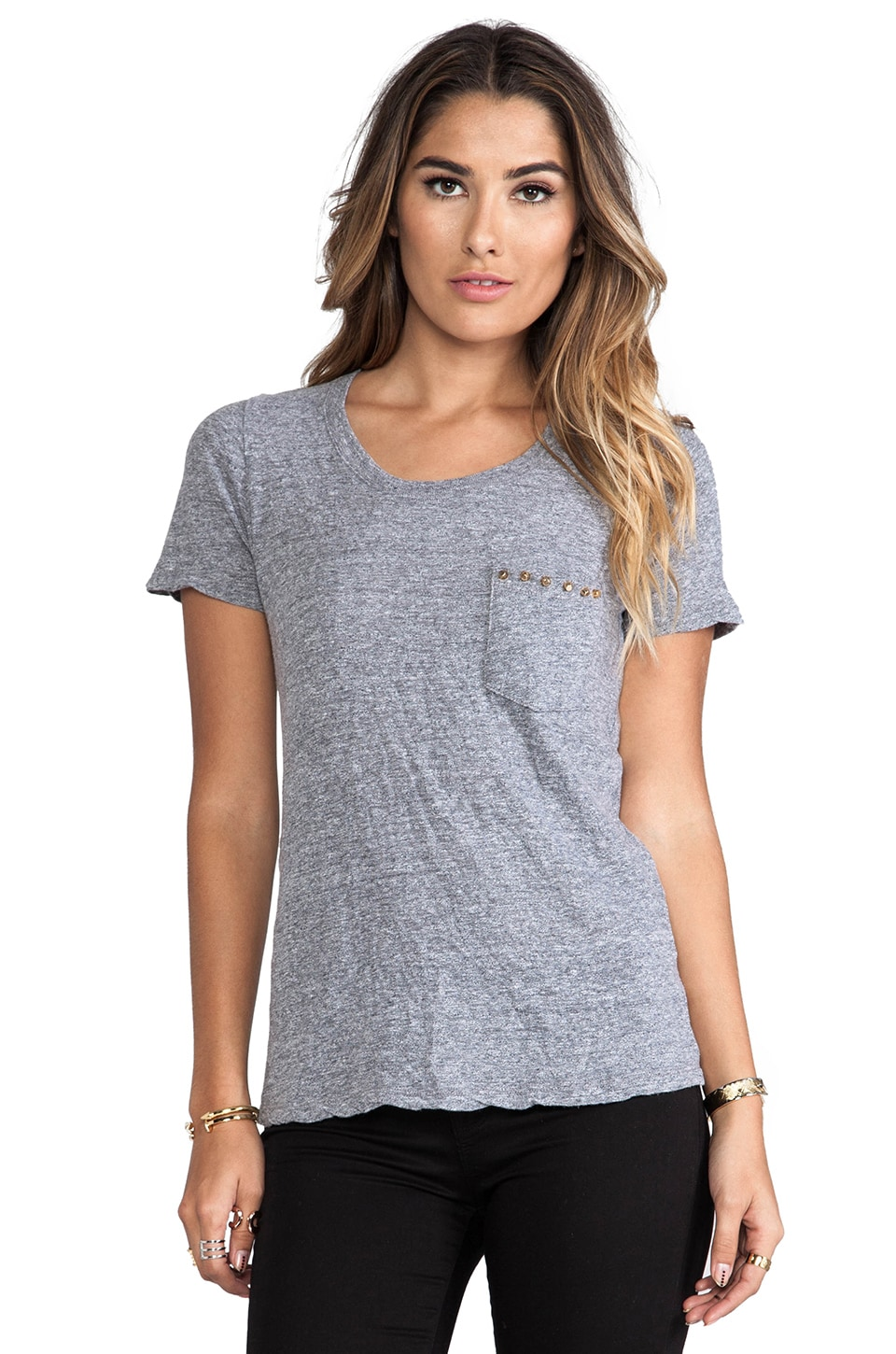 MONROW Studded Pocket Top in Granite