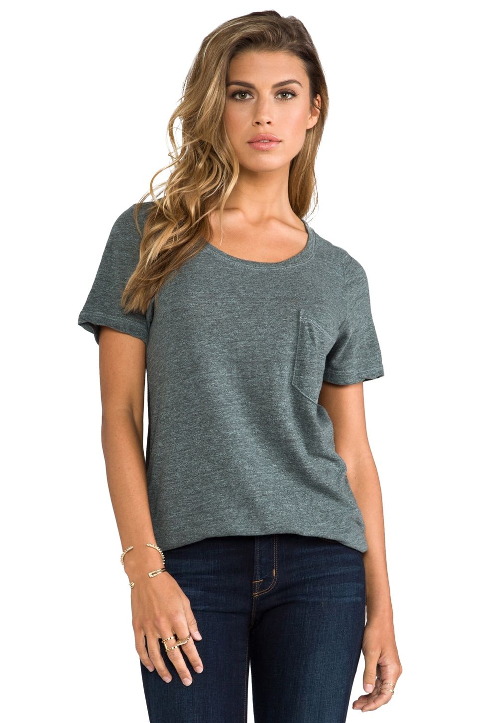 MONROW Half and Half Pocket Tee in Sage