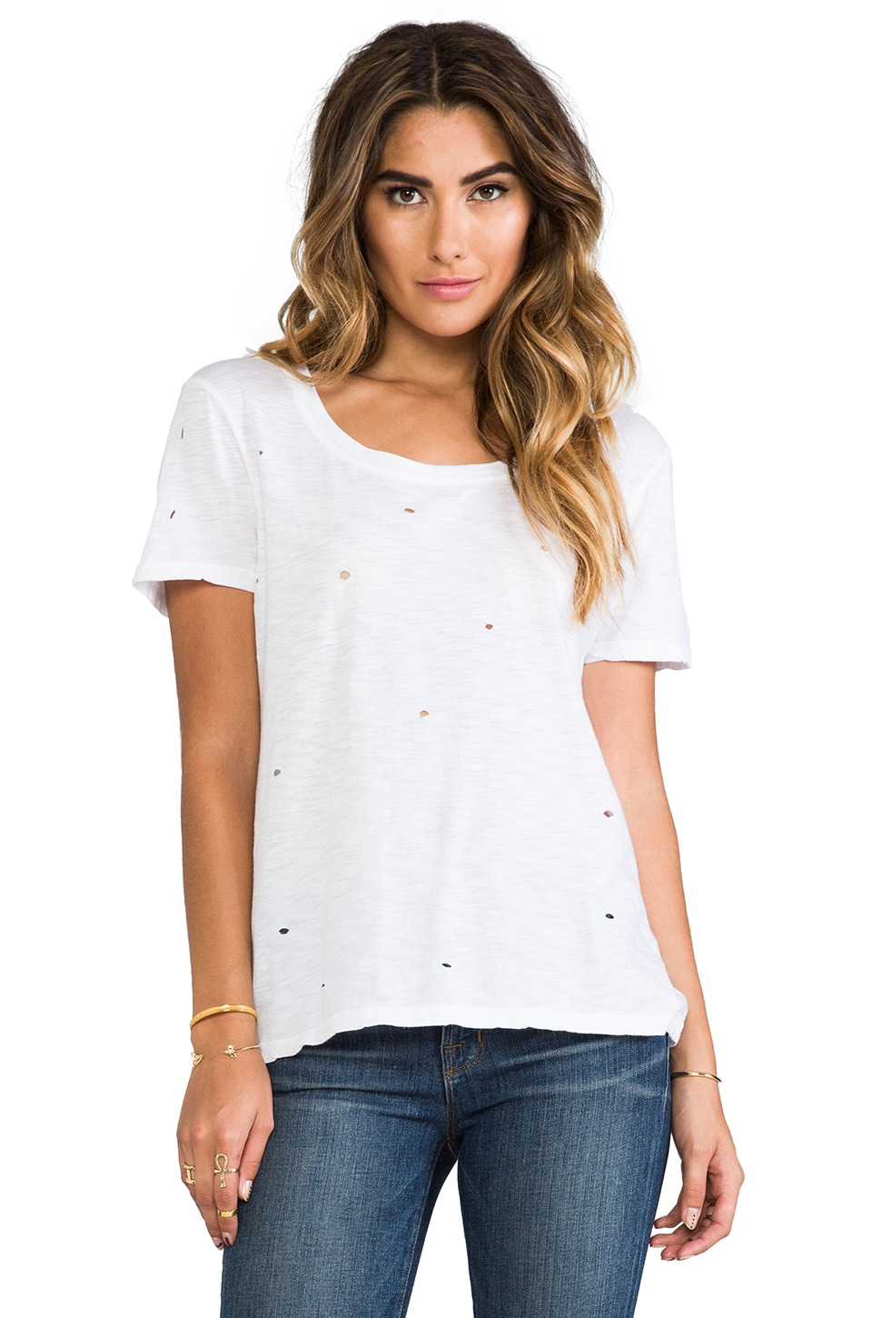 MONROW Distressed Boyfriend Tee in White