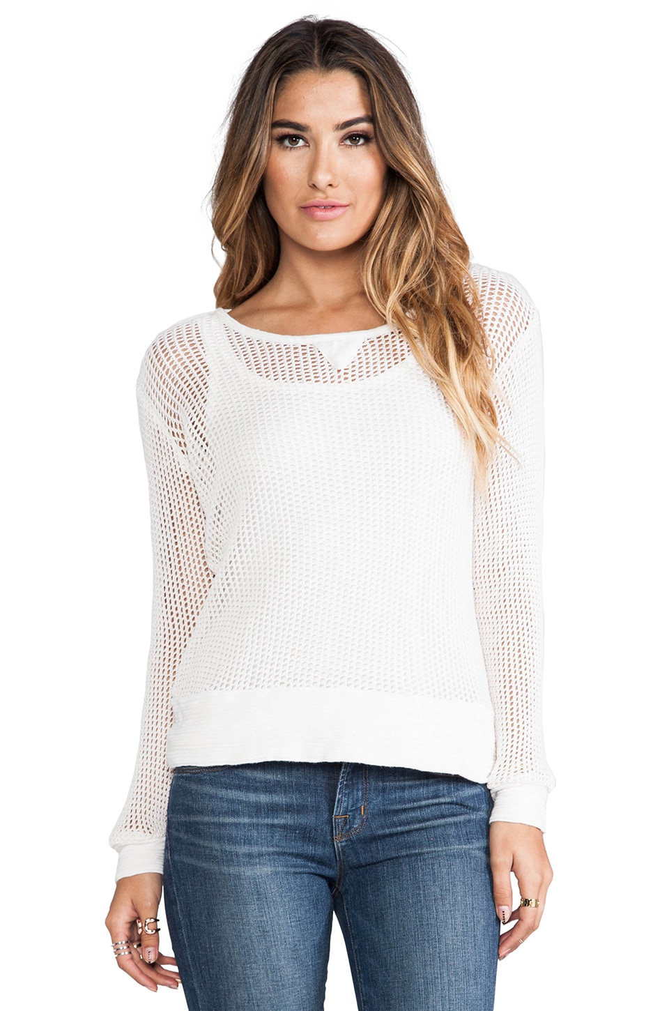MONROW Cotton Mesh Sweater in White