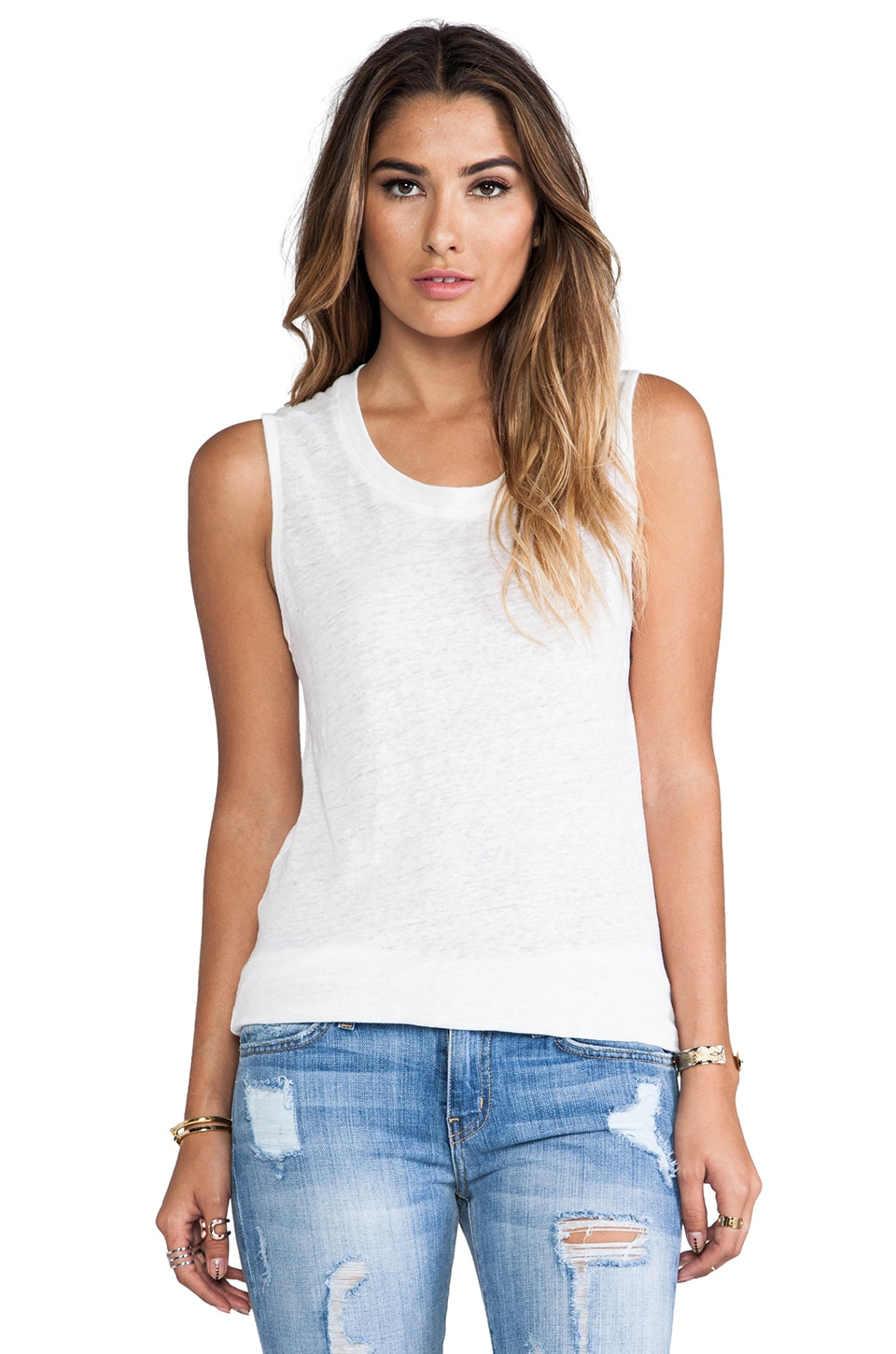 MONROW Linen Jersey Tank in White
