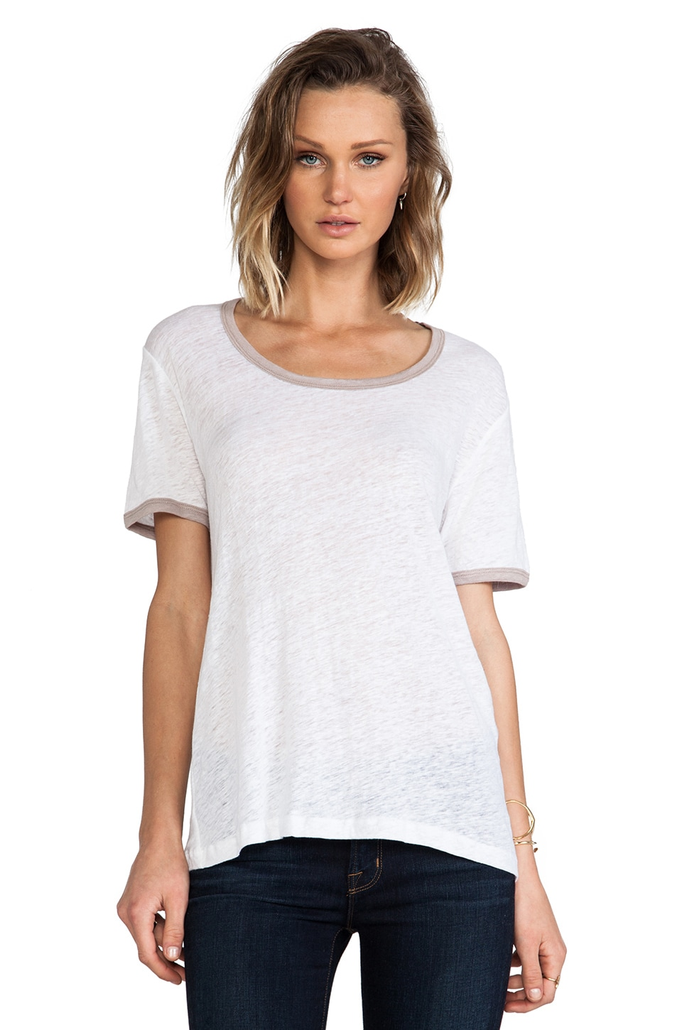 MONROW Colorblock Ringer Tee in White & Grey