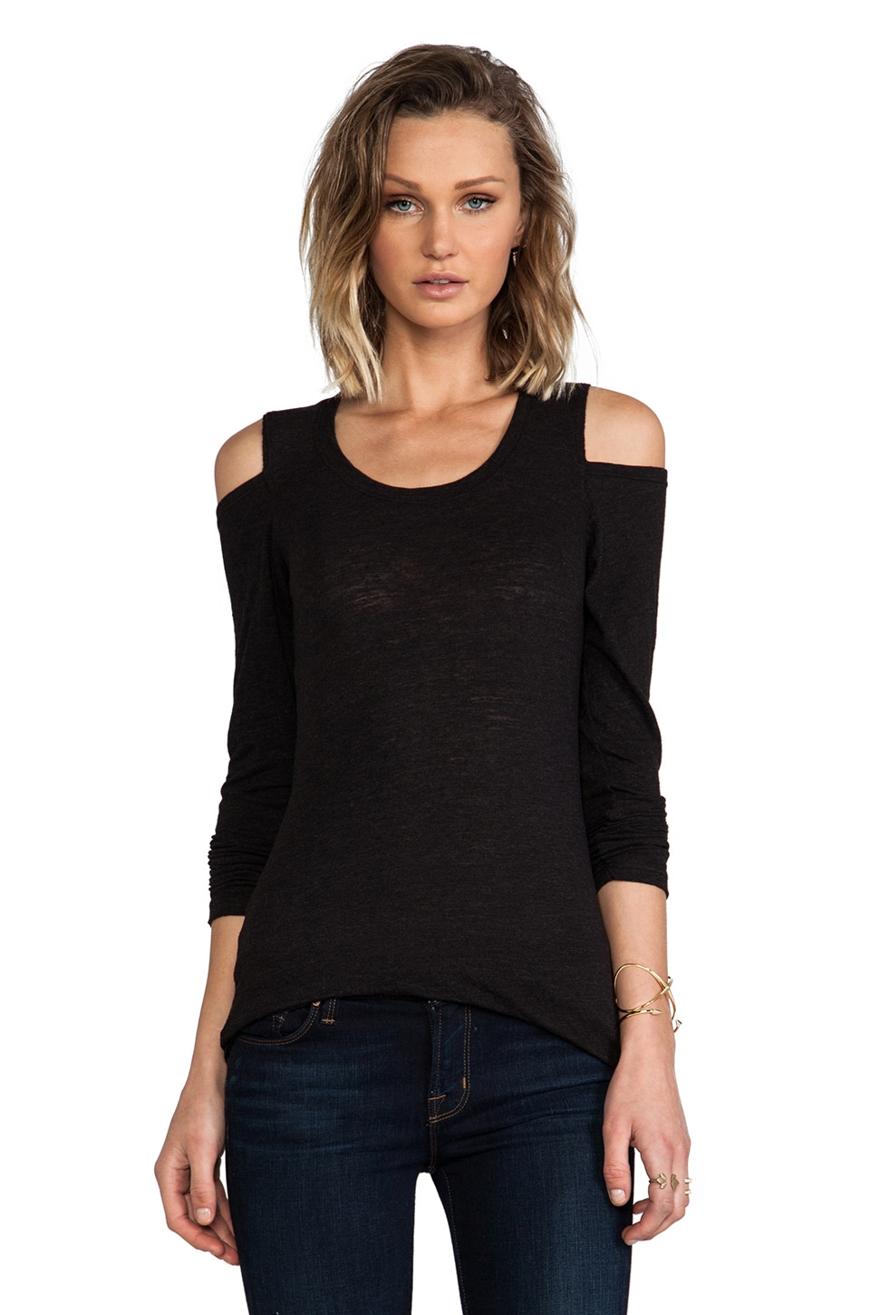 MONROW Open Shoulder Top in Black