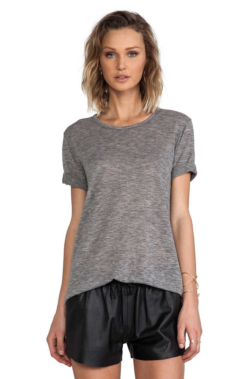 MONROW Poly Rayon Fashion Tee in Black