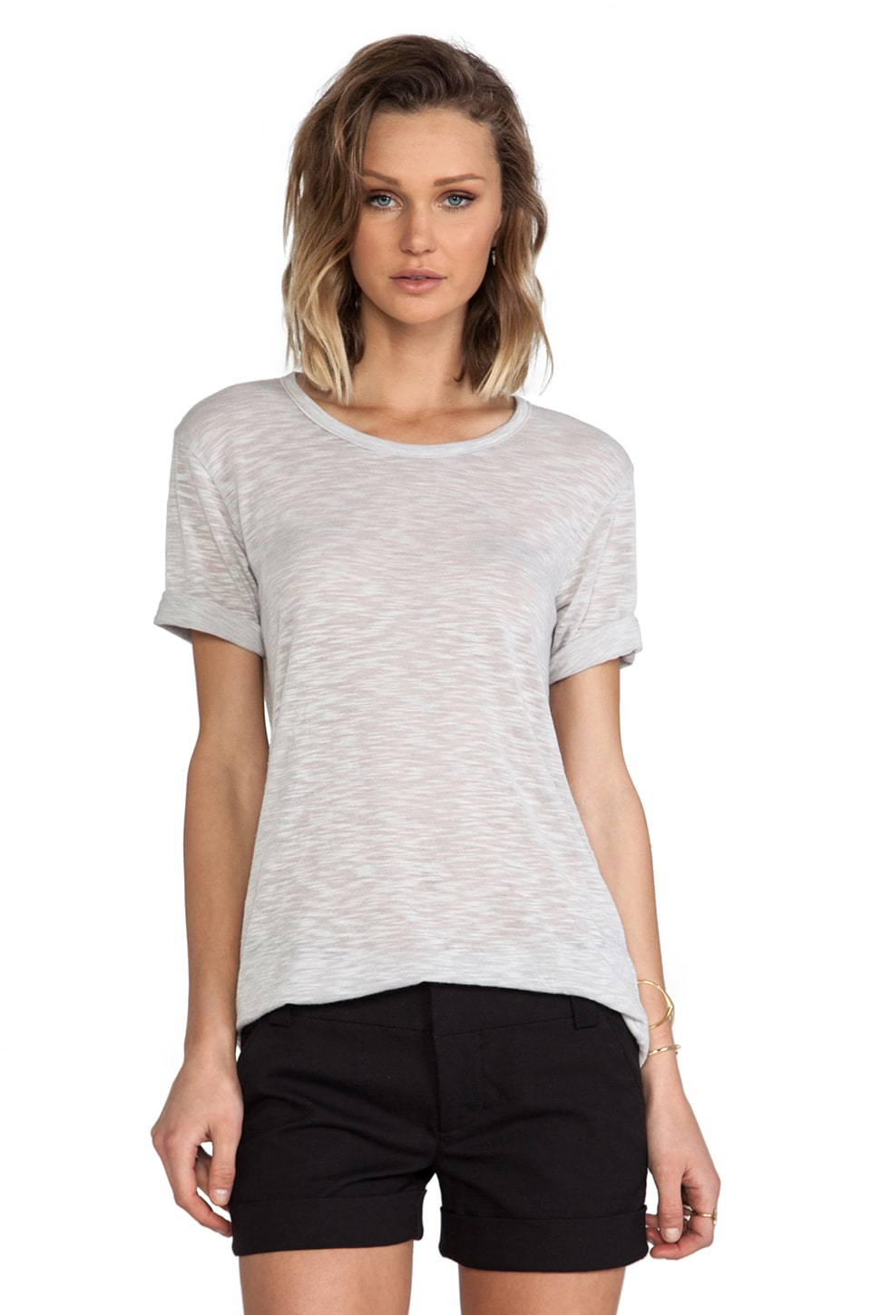 MONROW Poly Rayon Fashion Tee in Linen