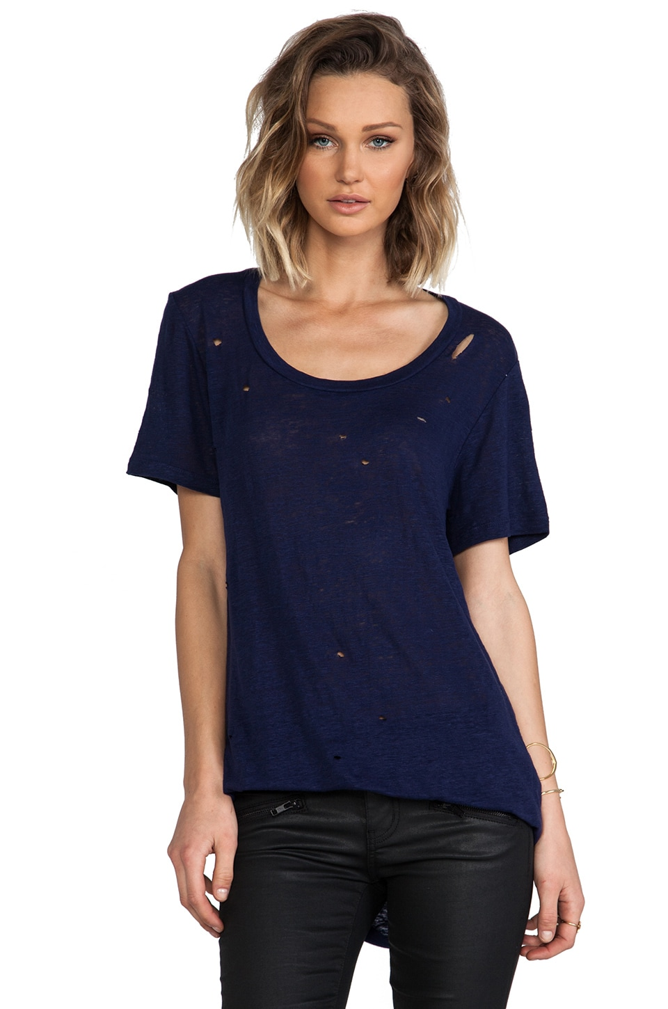 MONROW Linen Jersey Fashion Tee in Navy