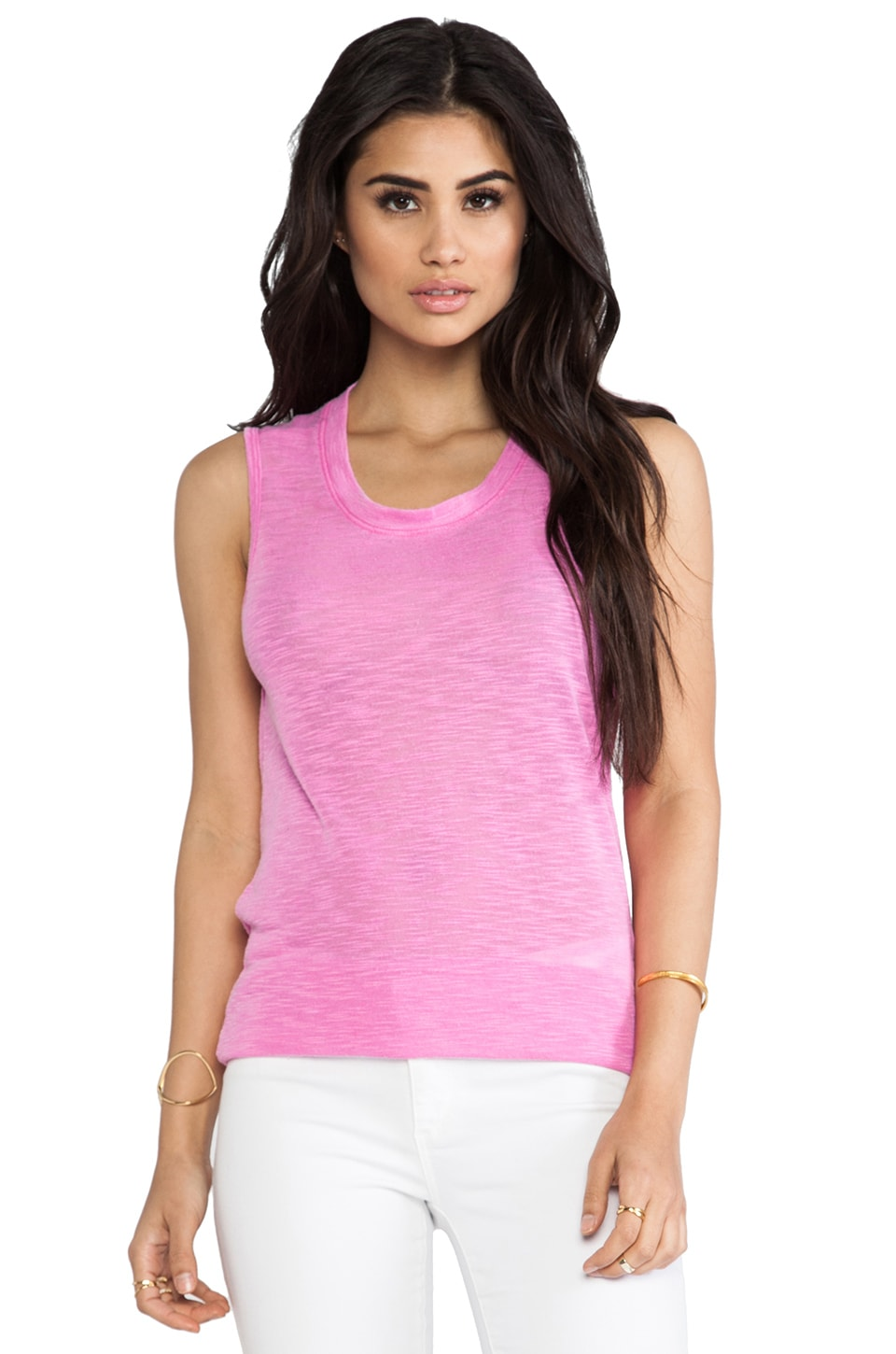 MONROW Poly Rayon Tank in Neon Magenta
