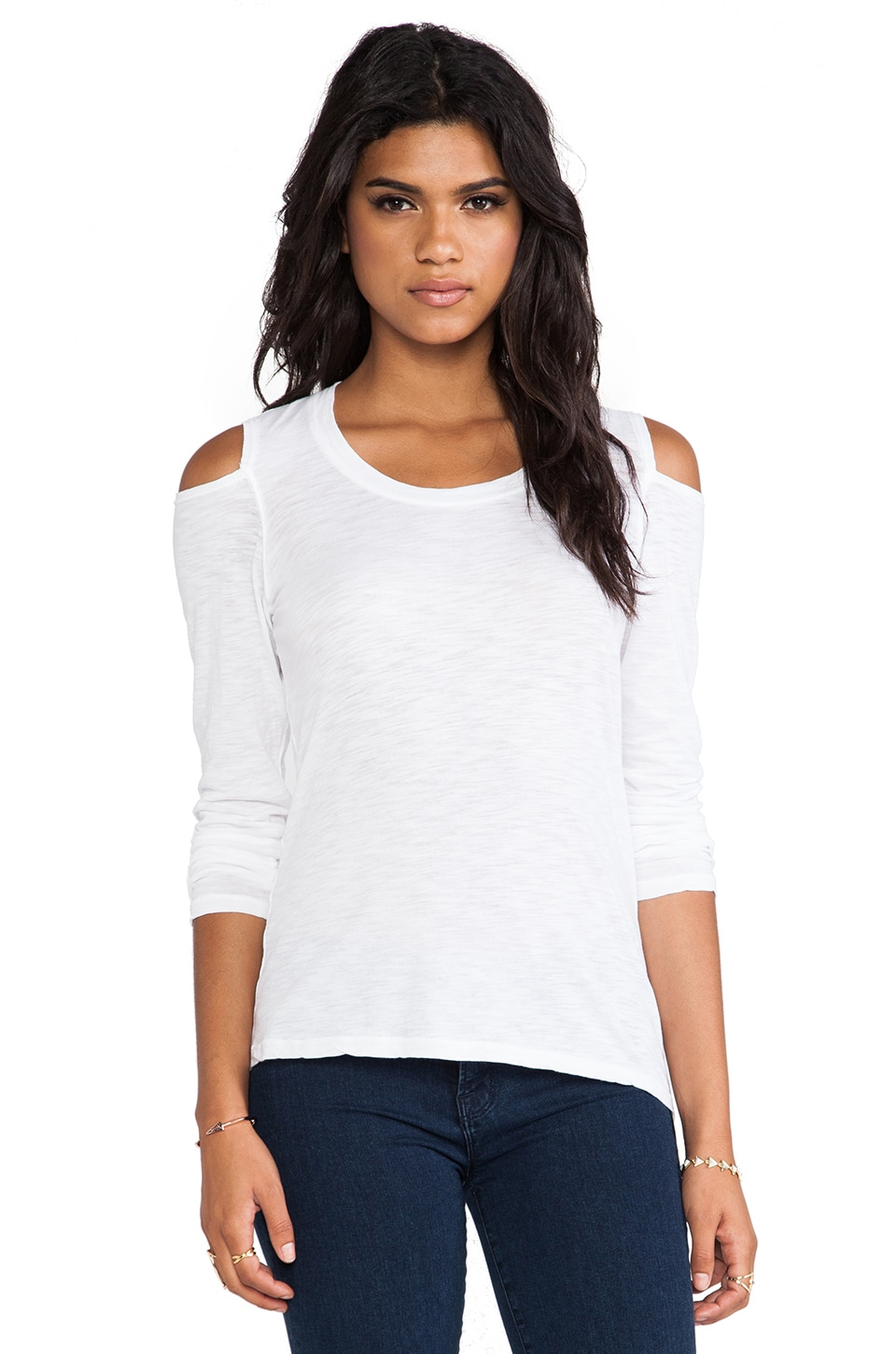MONROW Open Shoulder Top in White