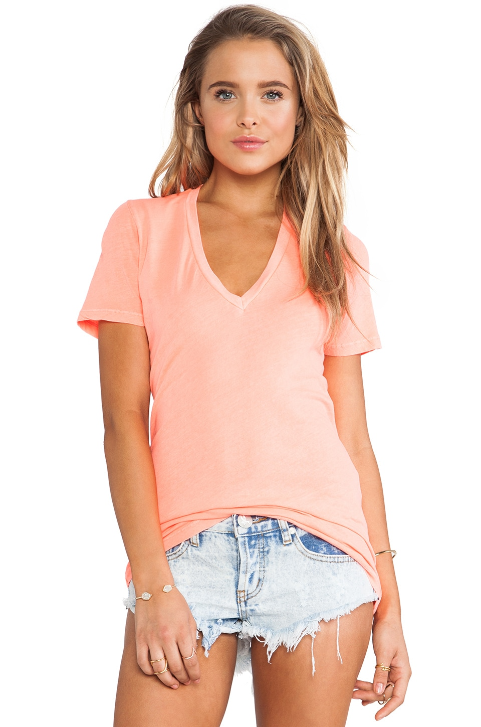 MONROW Tissue V Neck Tee in Neon Orange