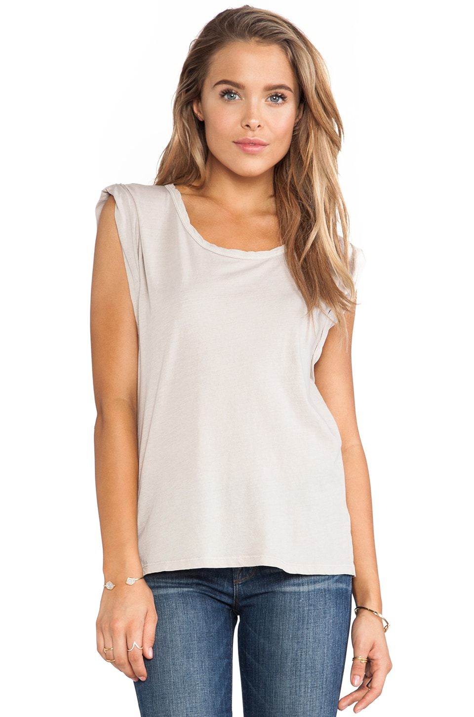 MONROW Super Fine Jersey Rolled Sleeves Tee in Linen