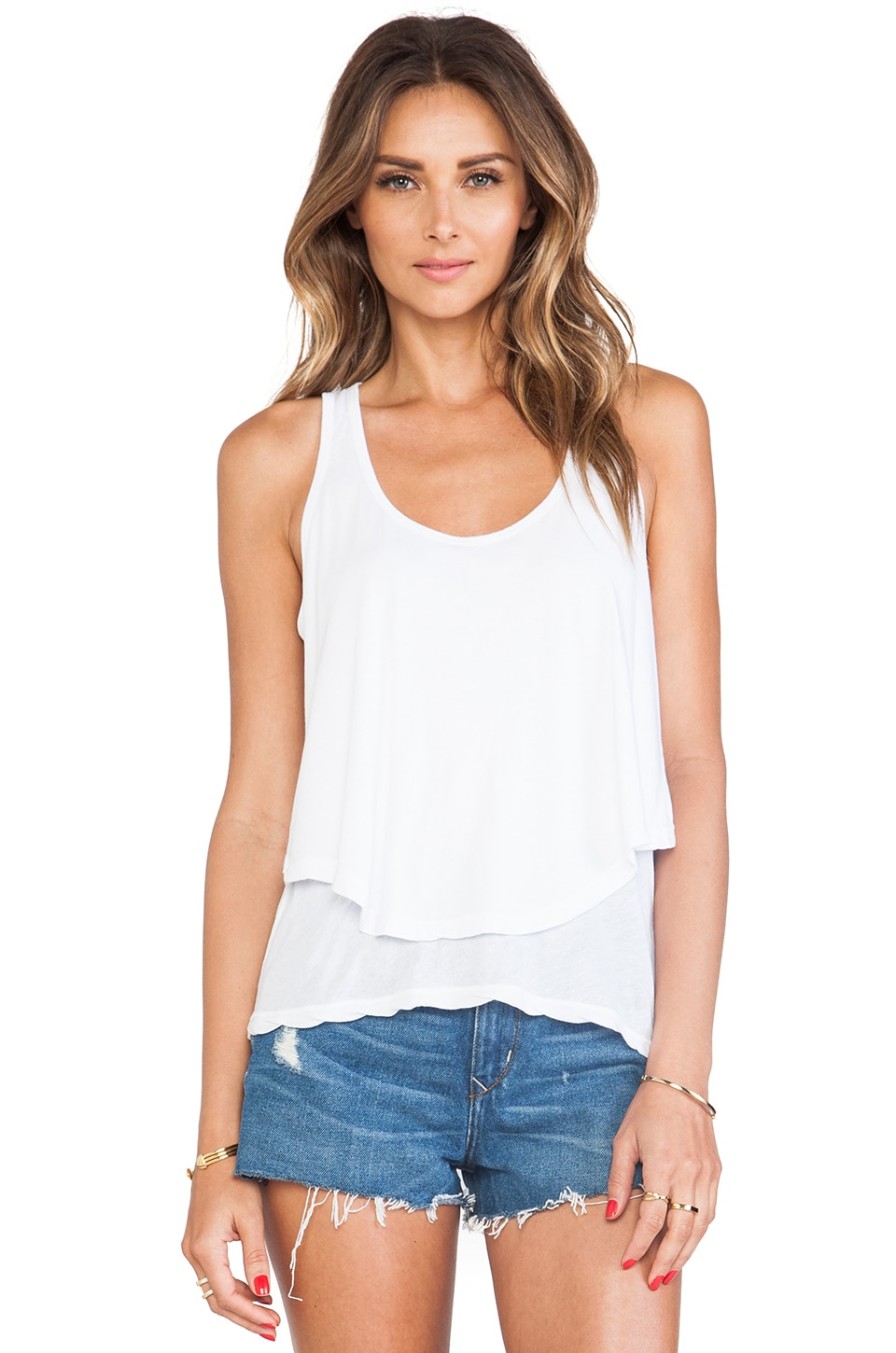 MONROW Cotton Modal Double Crop Tank in White