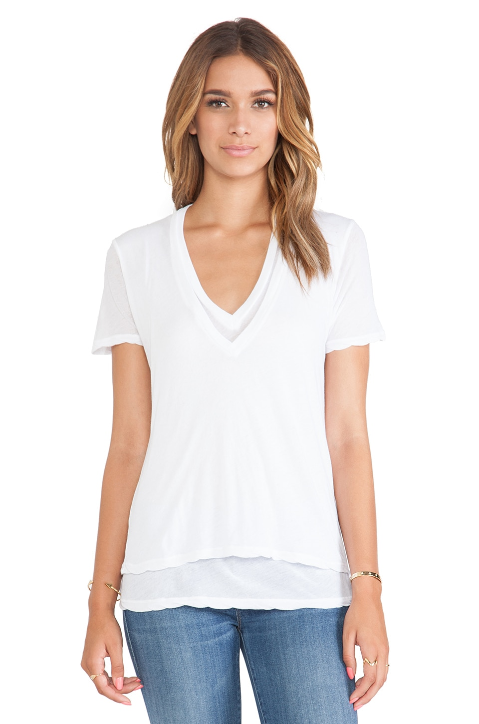 MONROW Heather Grey Tissue Double V Neck in White