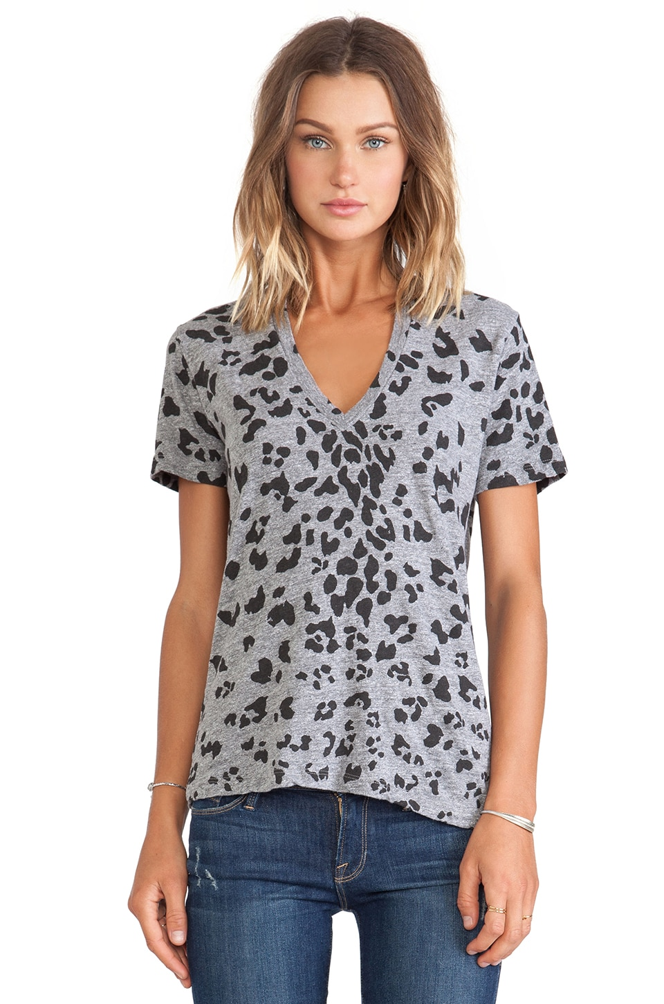MONROW Oversized Leopard Print Tee in Granite