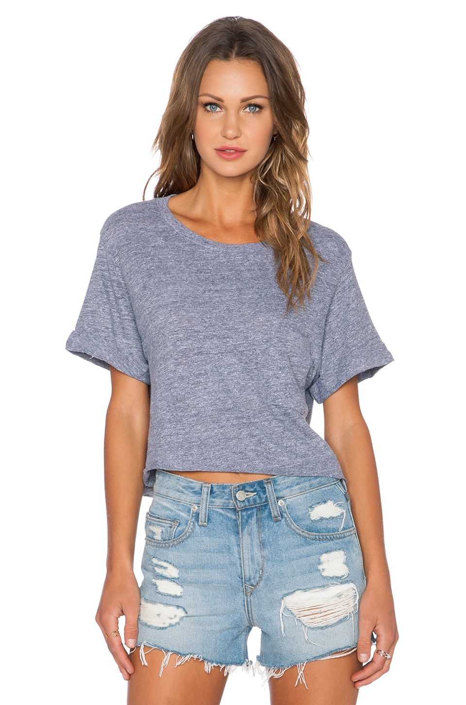 MONROW Novelty Cropped Crew Neck Tee in Granite