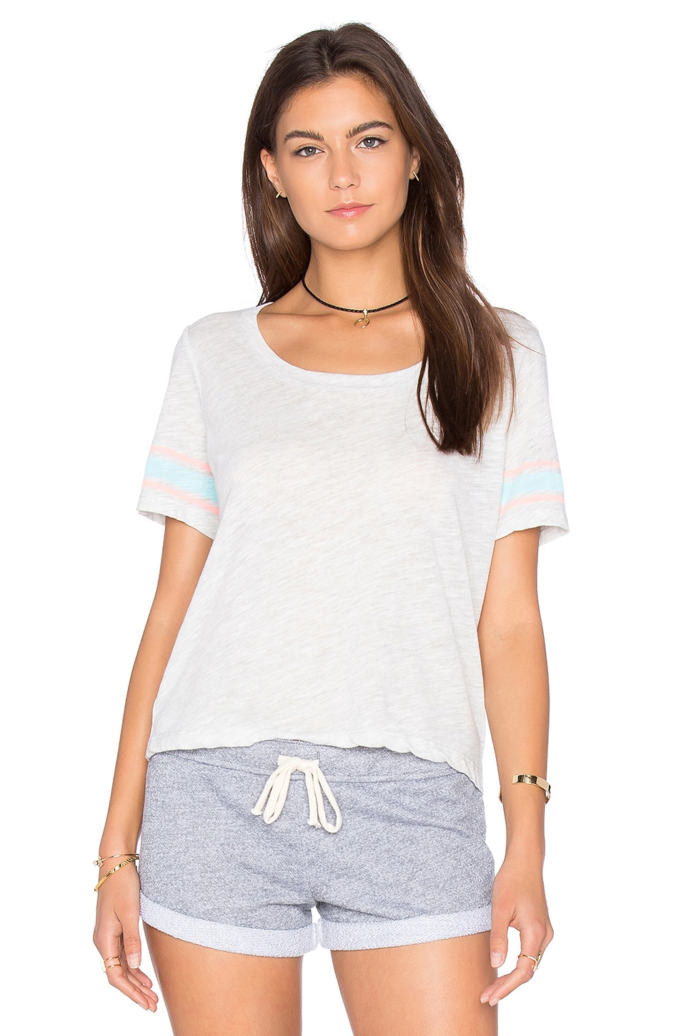 Athletic Stripe Cropped Tee by MONROW