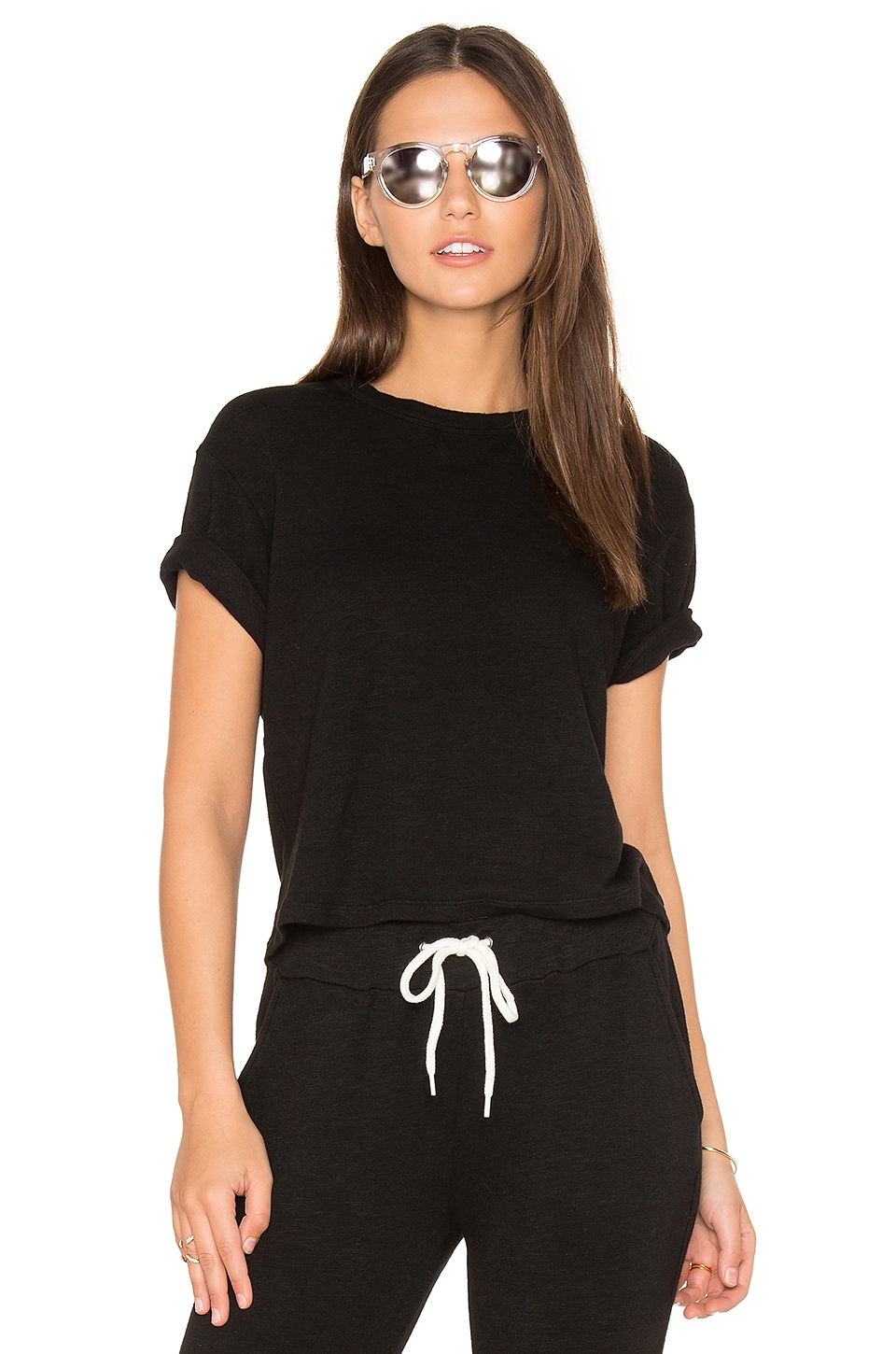 MONROW Cut Off Crew Neck Sweatshirt in Black