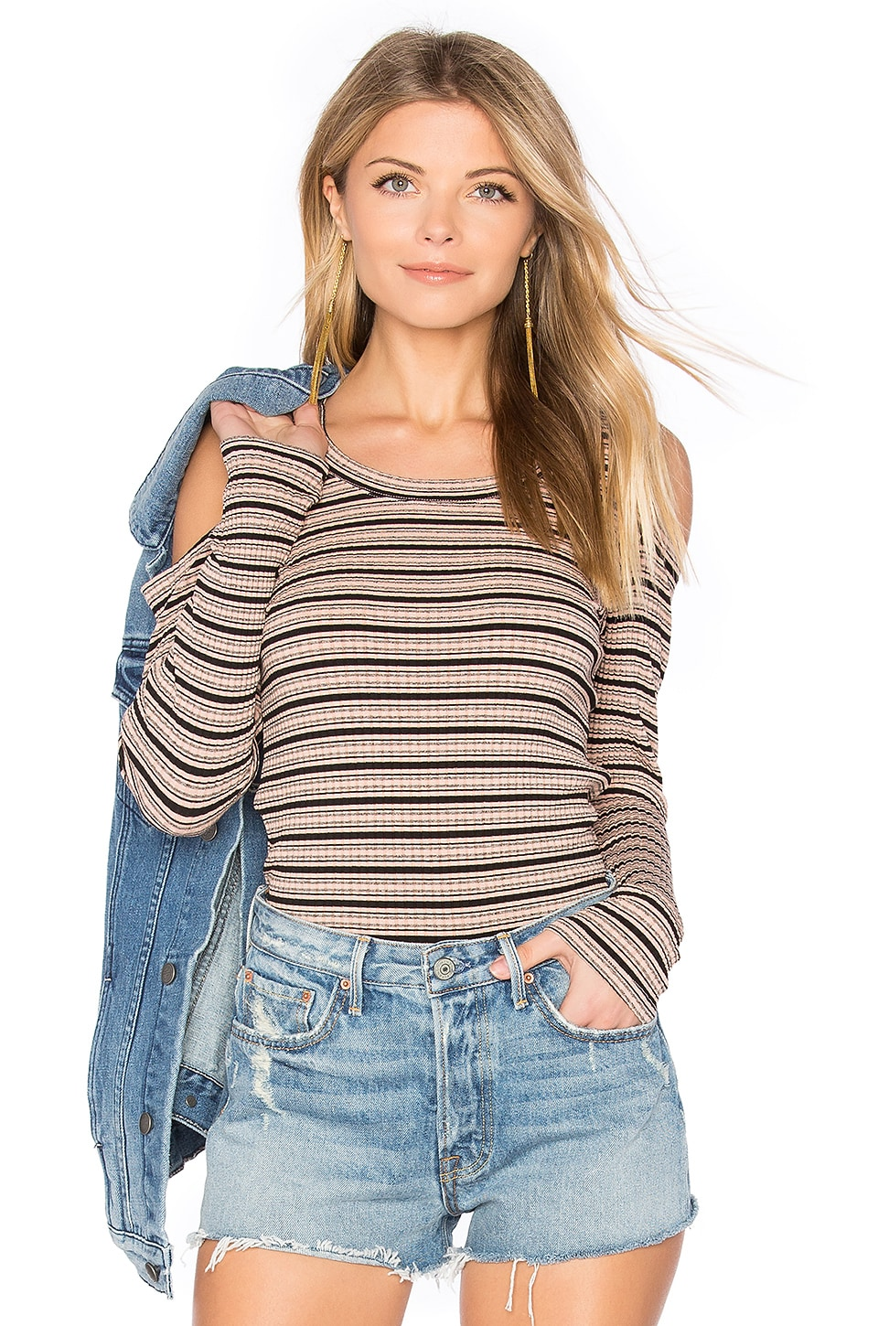 MONROW Stripe Cut Out Top in Cheeky Pink