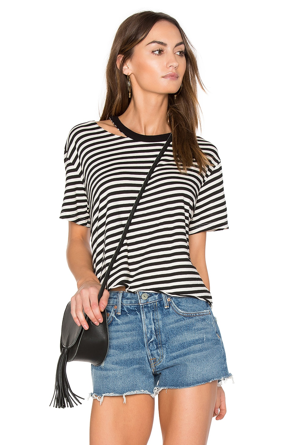 Slash Stripe Athletic Tee by Monrow