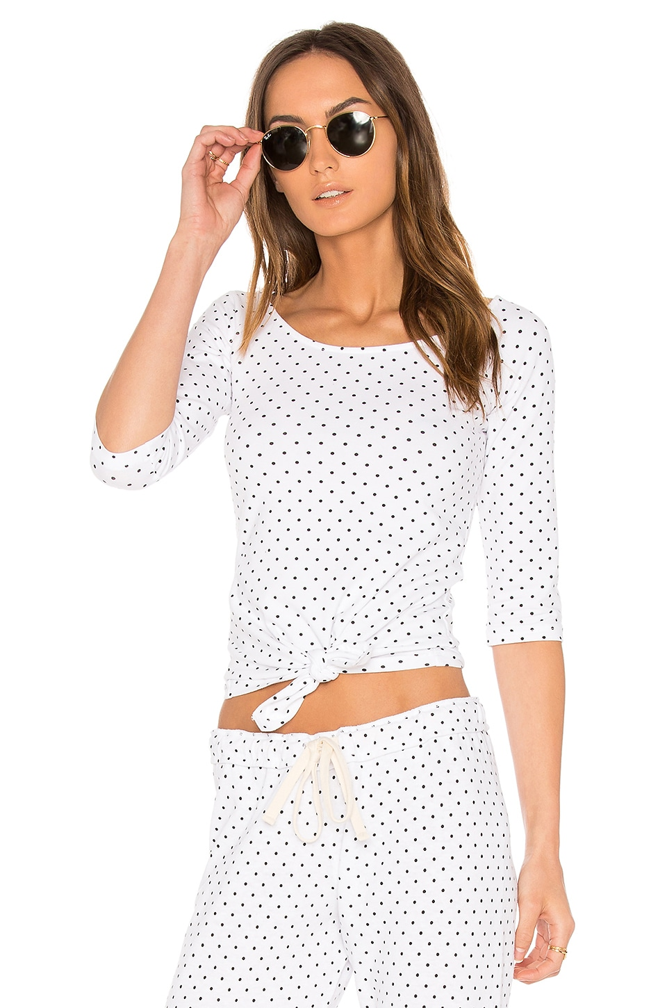 MONROW Swiss Dot Off the Shoulder Top in White