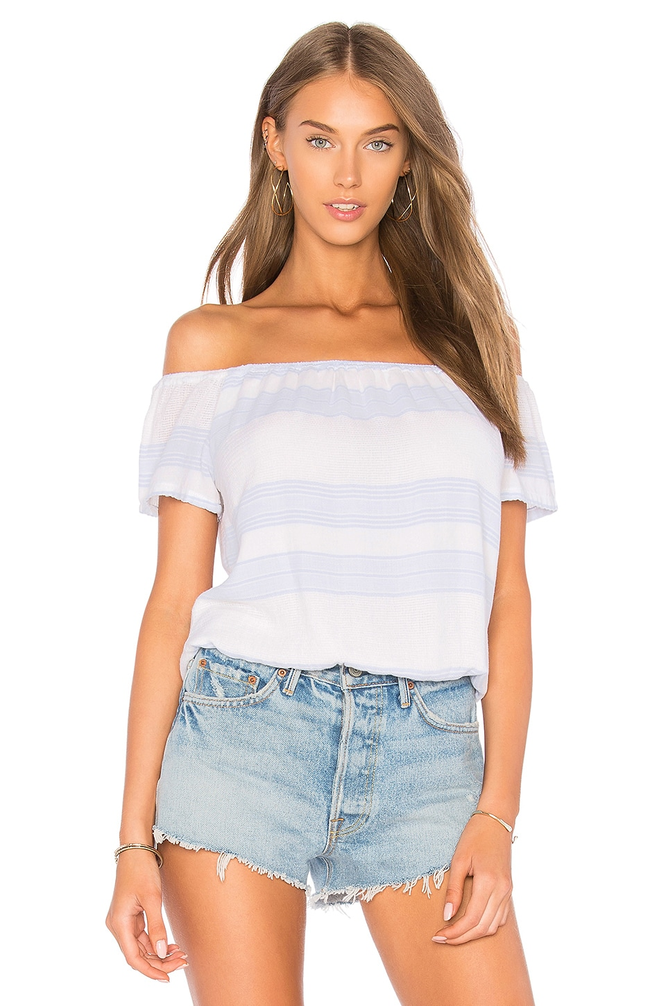 MONROW Off the Shoulder Top in White