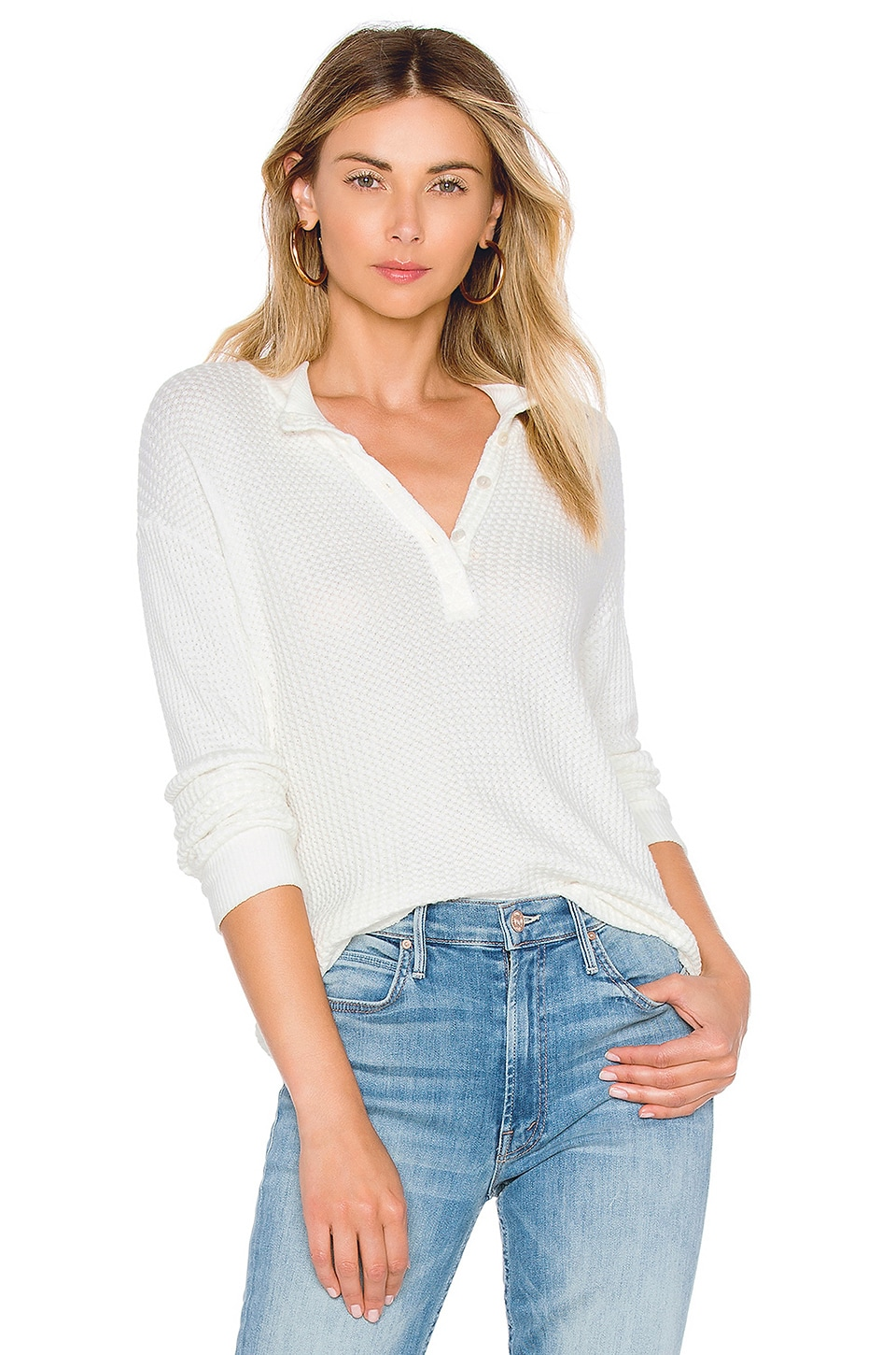 Mock Neck Henley Top