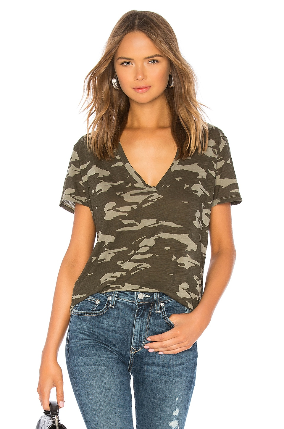 MONROW Camo Relaxed V Neck Tee in Olive