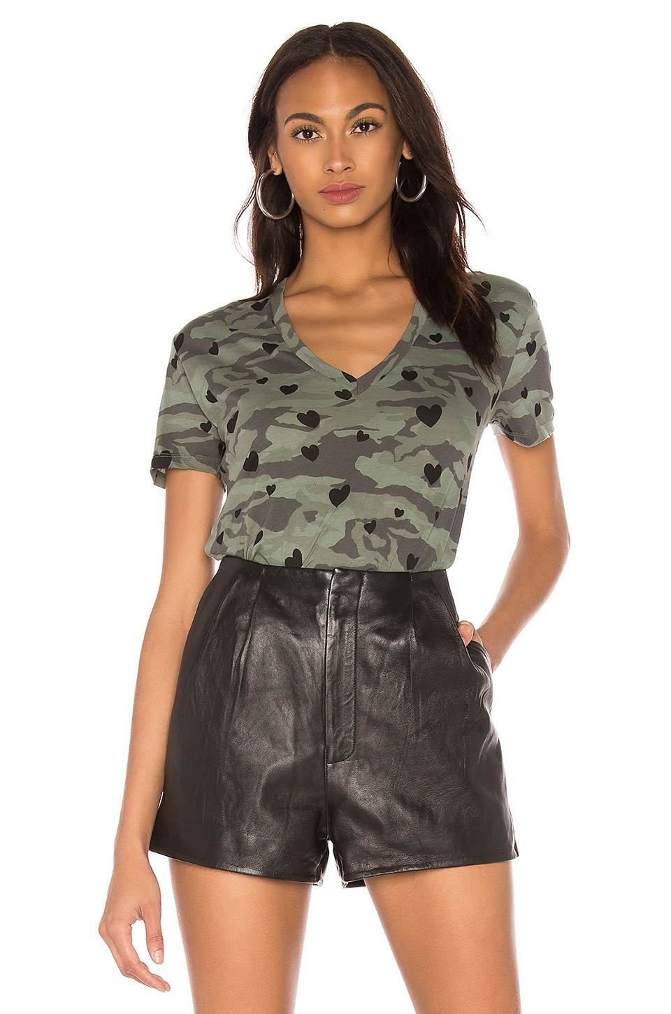 MONROW Camo Relaxed V Neck with Hearts Tee in Cactus