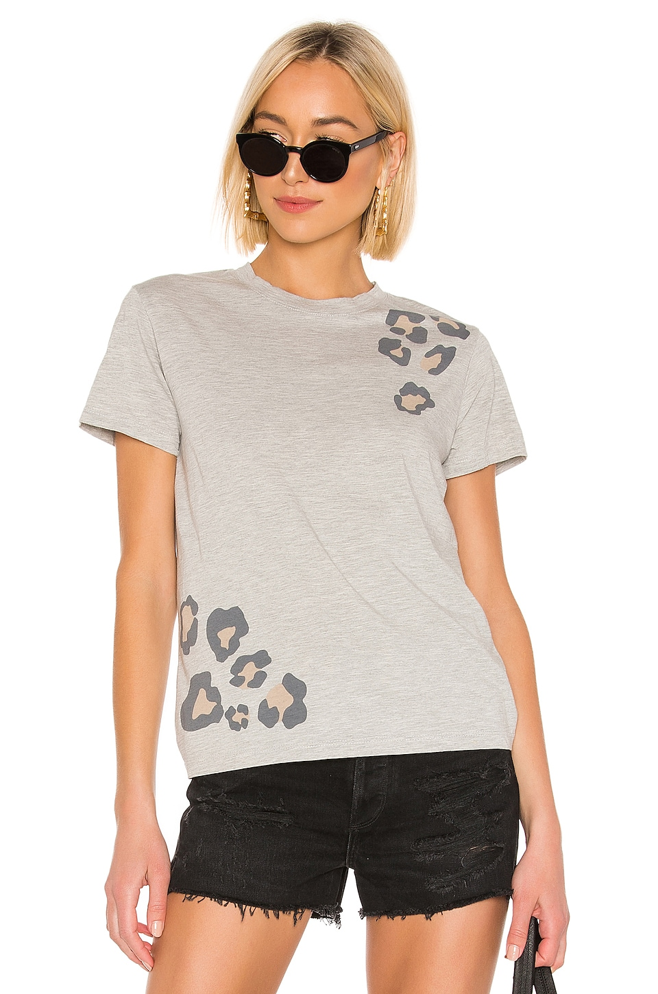 MONROW Relaxed Basic Crew With Oversized Leopard Print Tee in Heather Grey