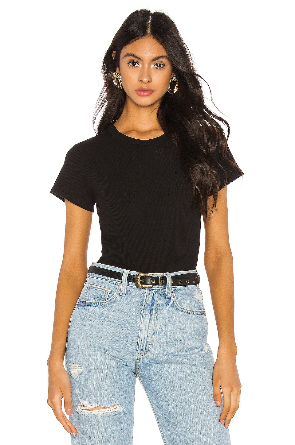 MONROW Rib Relaxed Crew Tee in Black