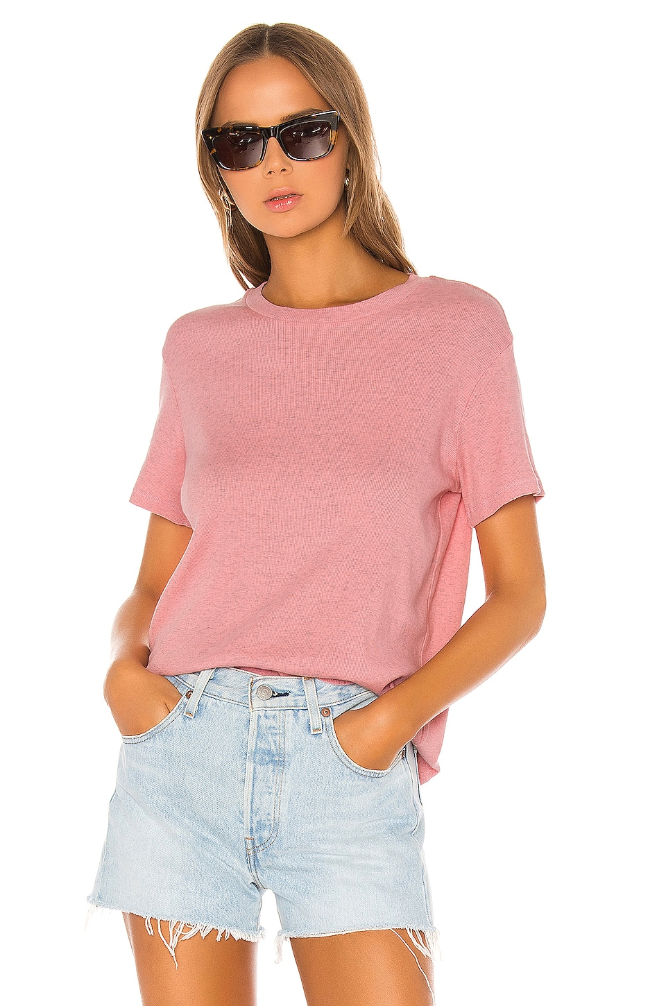 MONROW Rib Relaxed Basic Crew Tee in Peachy Pink