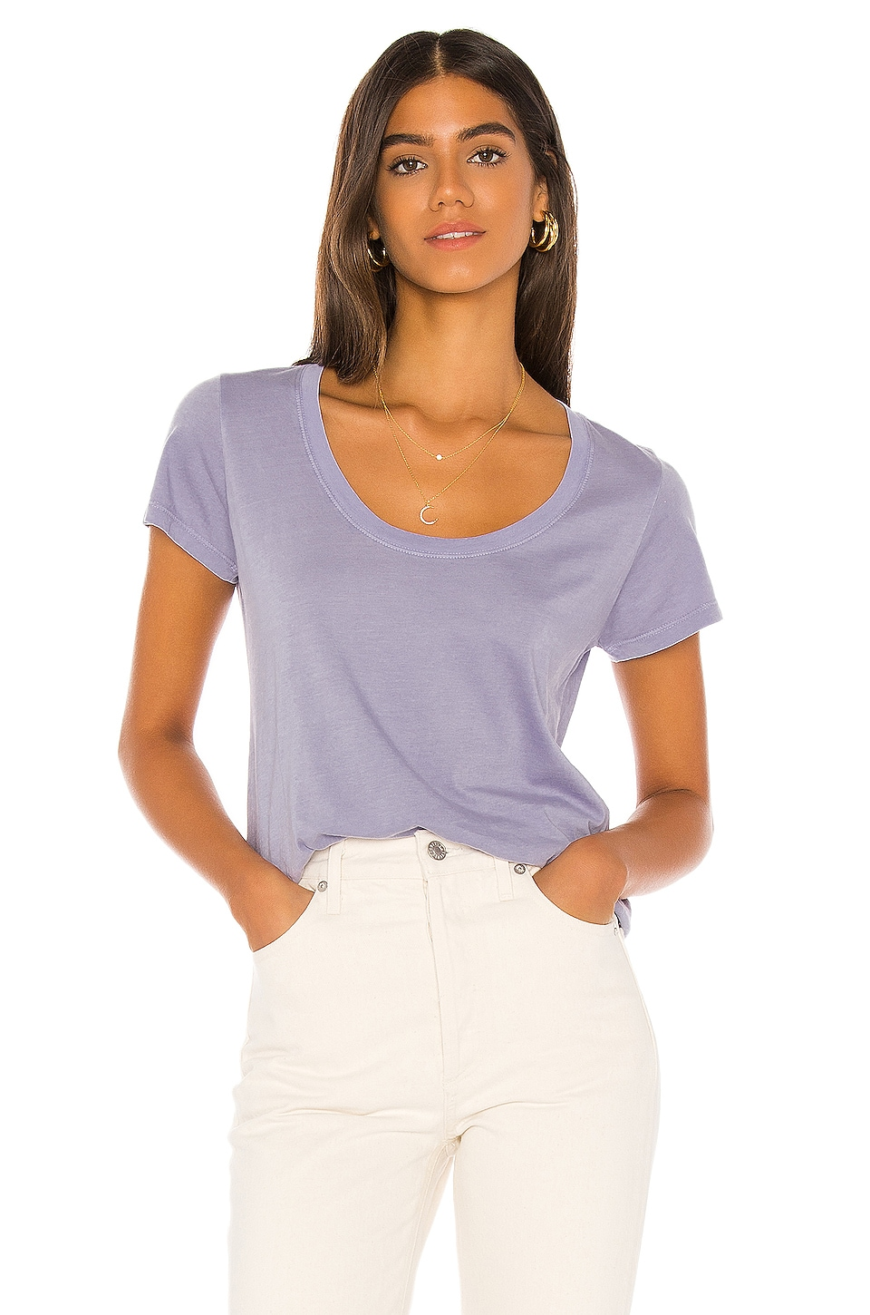 MONROW Loose Scoop Tee in Lavender