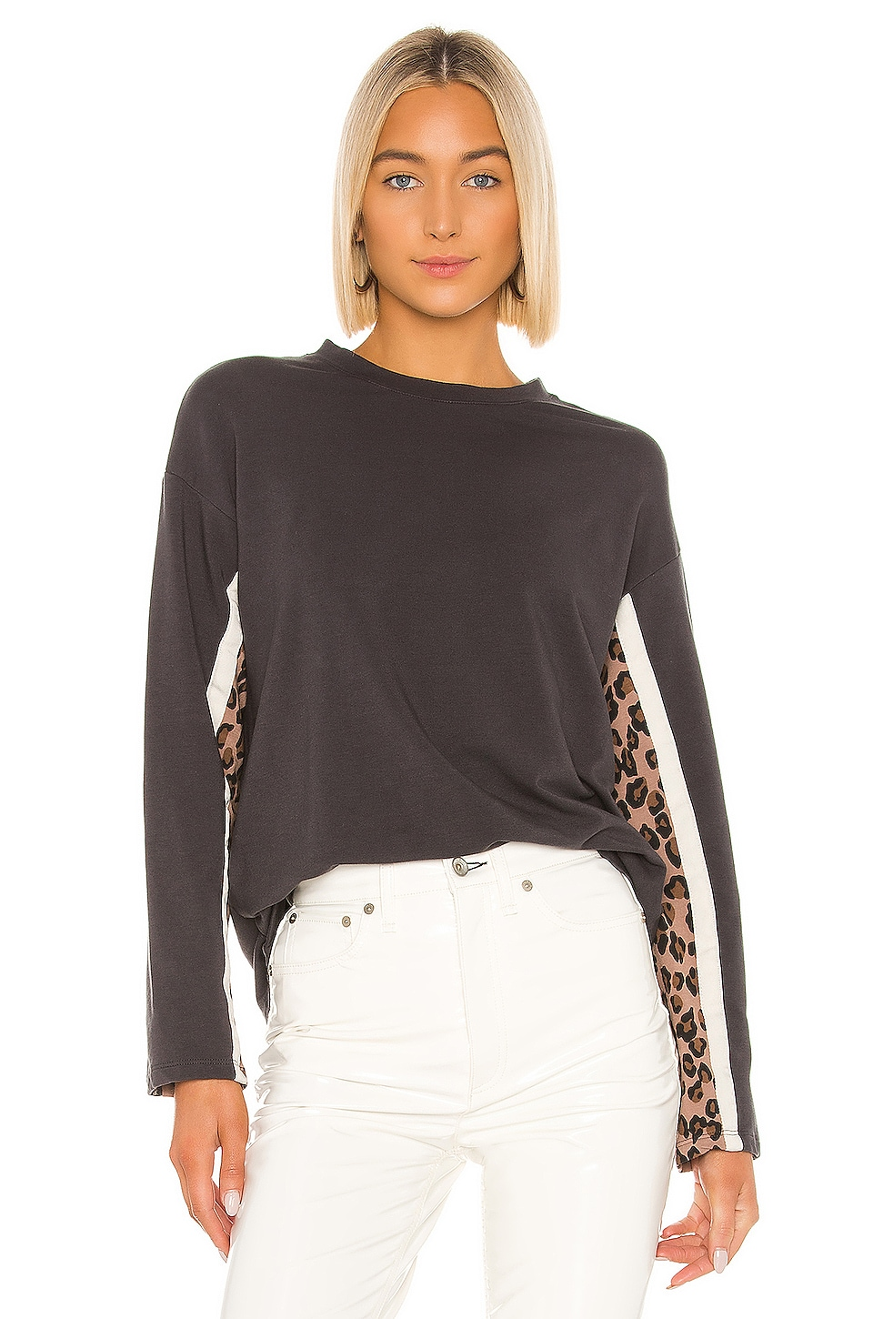 MONROW Paneled Long Sleeve Tee in Natural Leopard & Faded Black