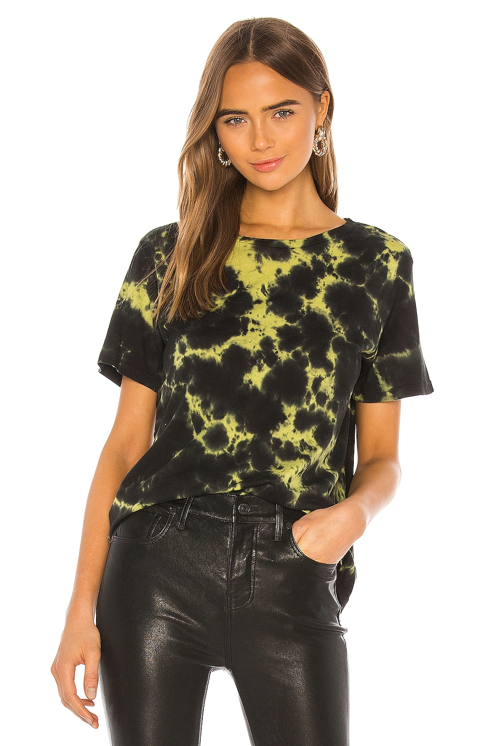 MONROW Oversized Crew Tee With Black Out Tie Dye in Citron