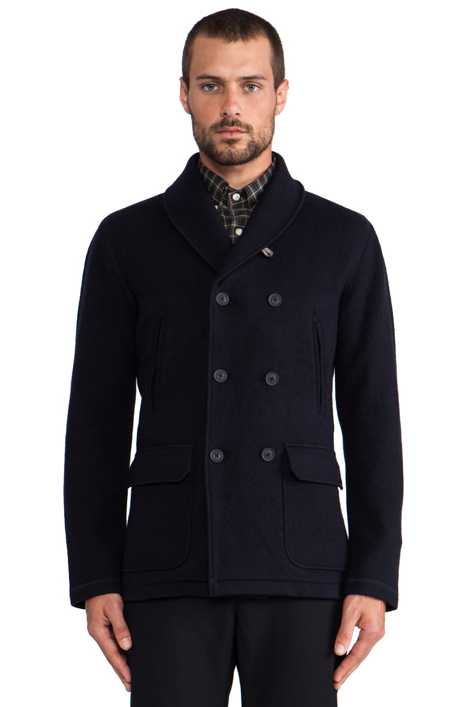 Hartford Boil Wool Peacoat in Navy
