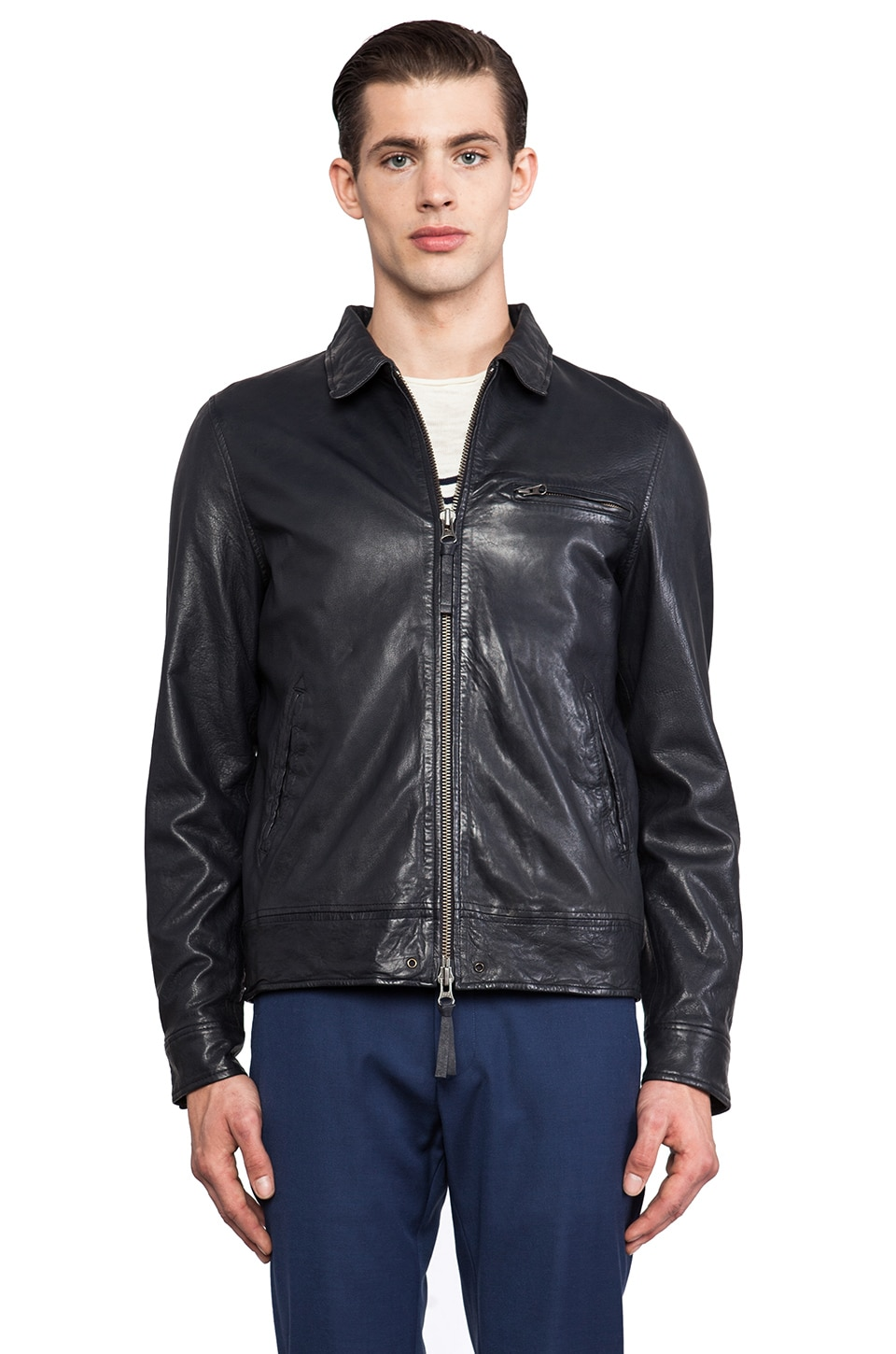 Hartford Washed Leather Bomber in Navy