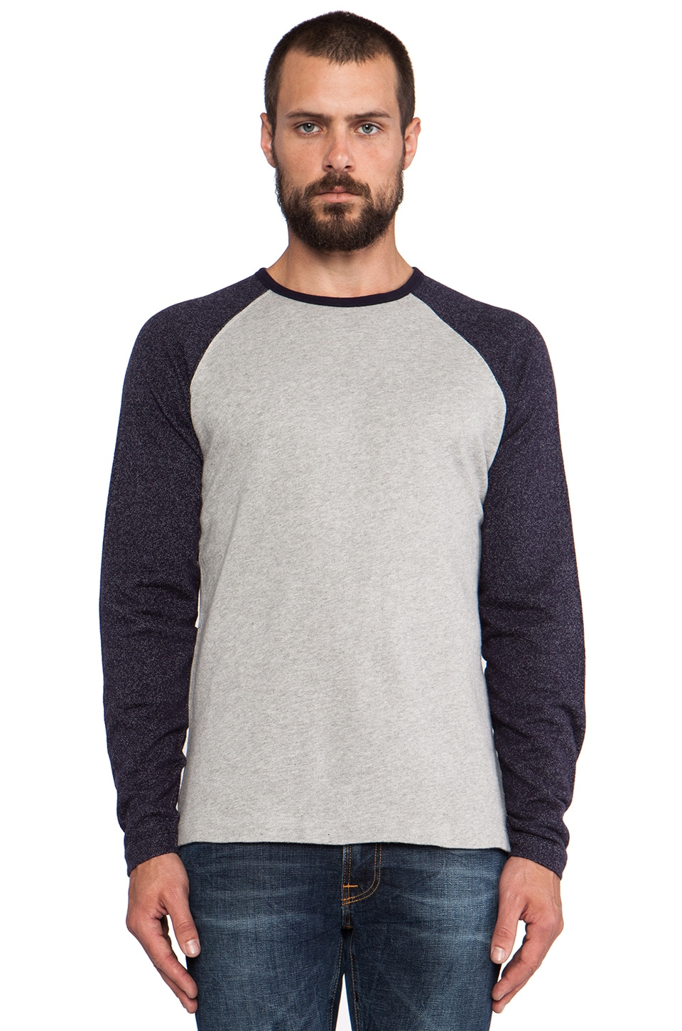 Hartford Raglan Lightweight Sweatshirt in Grey &  Navy