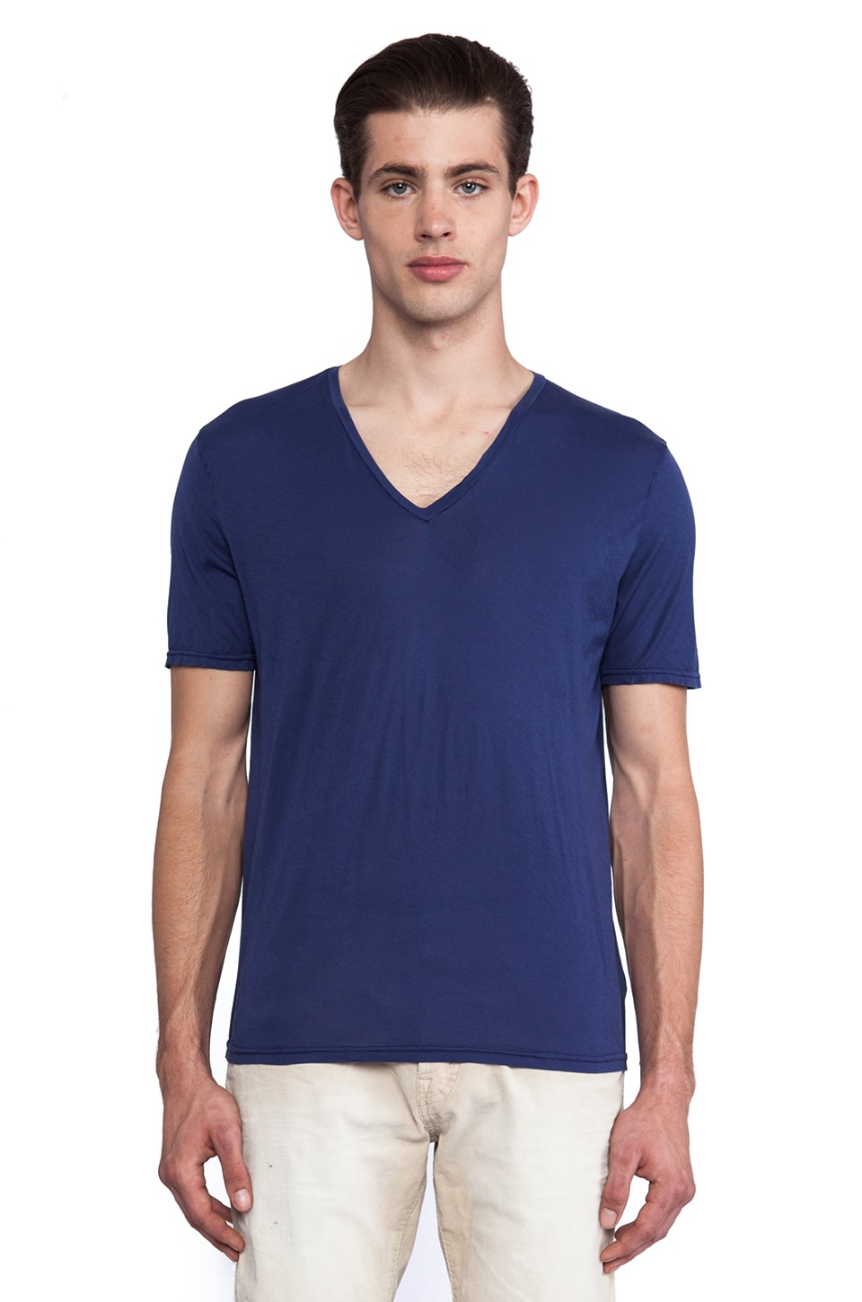 Hartford Jersey V Neck in Navy