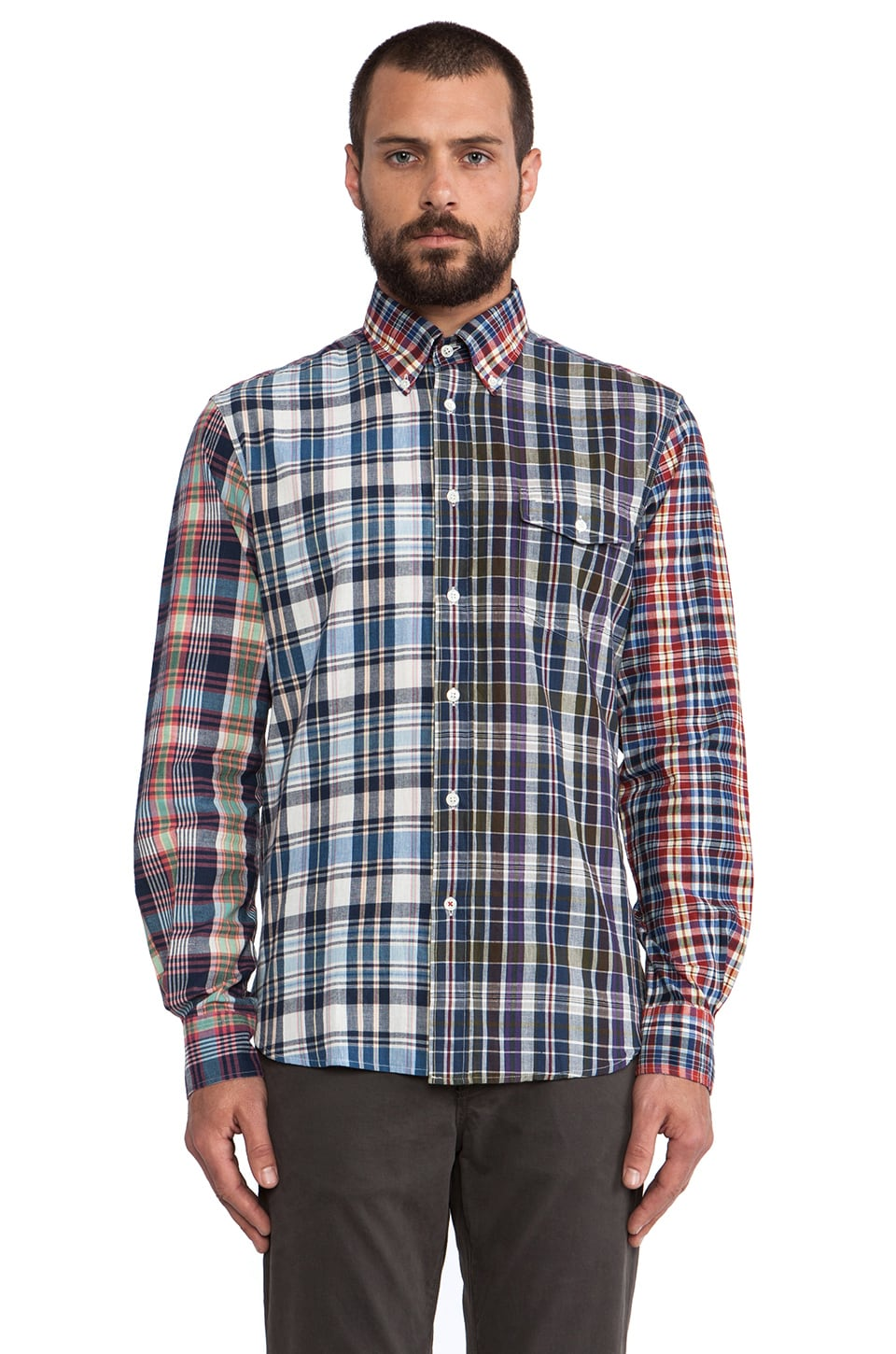Hartford Vintage Madras Patchwork Button Down in Multi