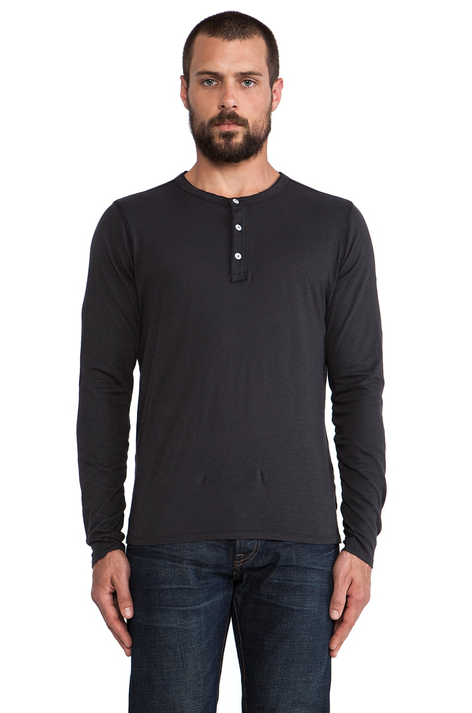 Hartford Jersey Henley in Black