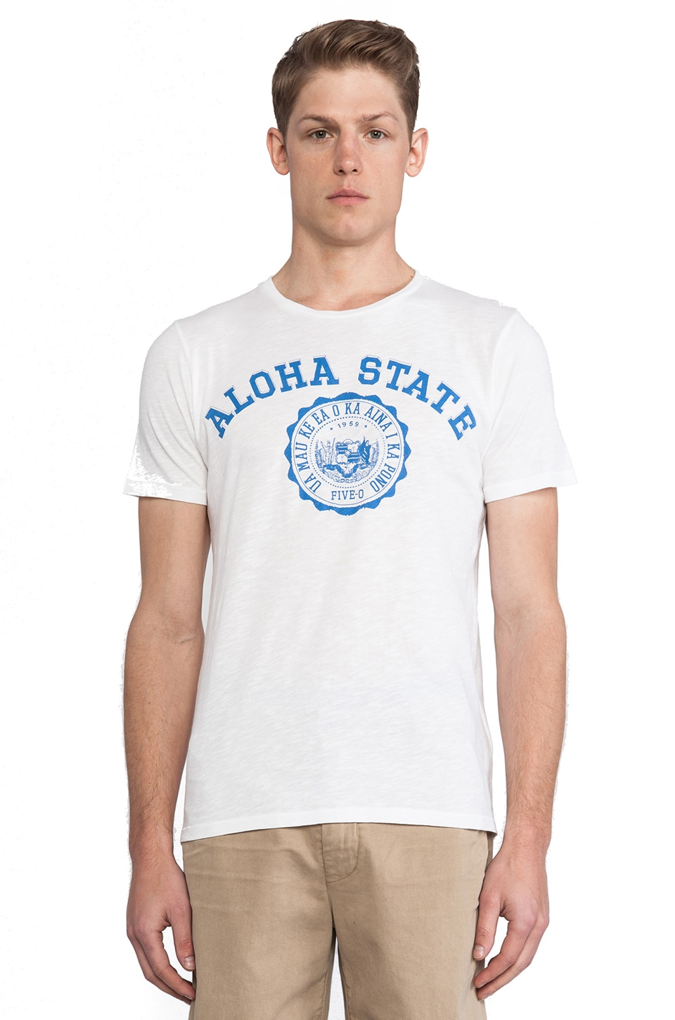Hartford Aloha Print T-Shirt in White