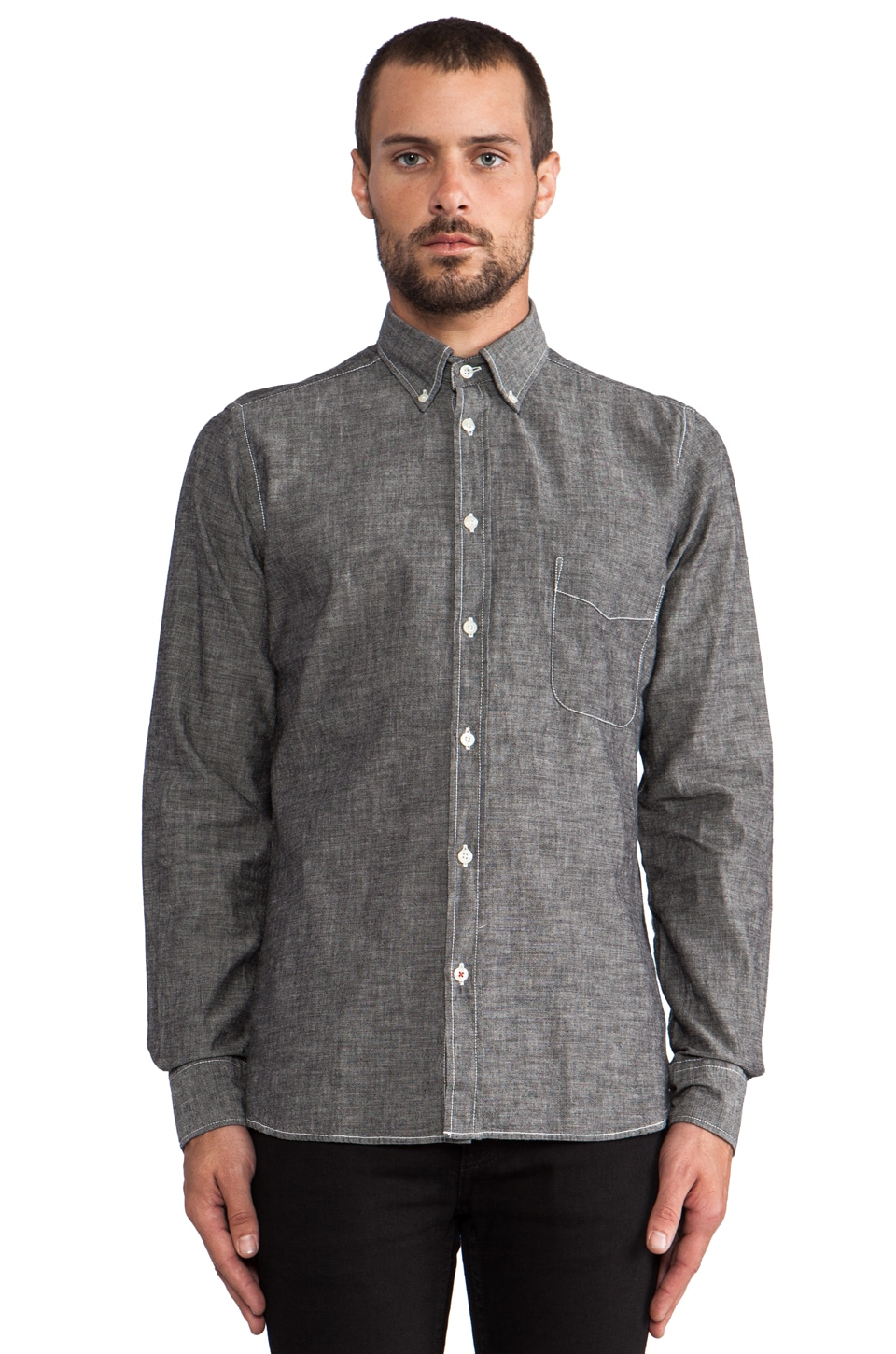 Hartford Vintage Chambray in Dark Grey