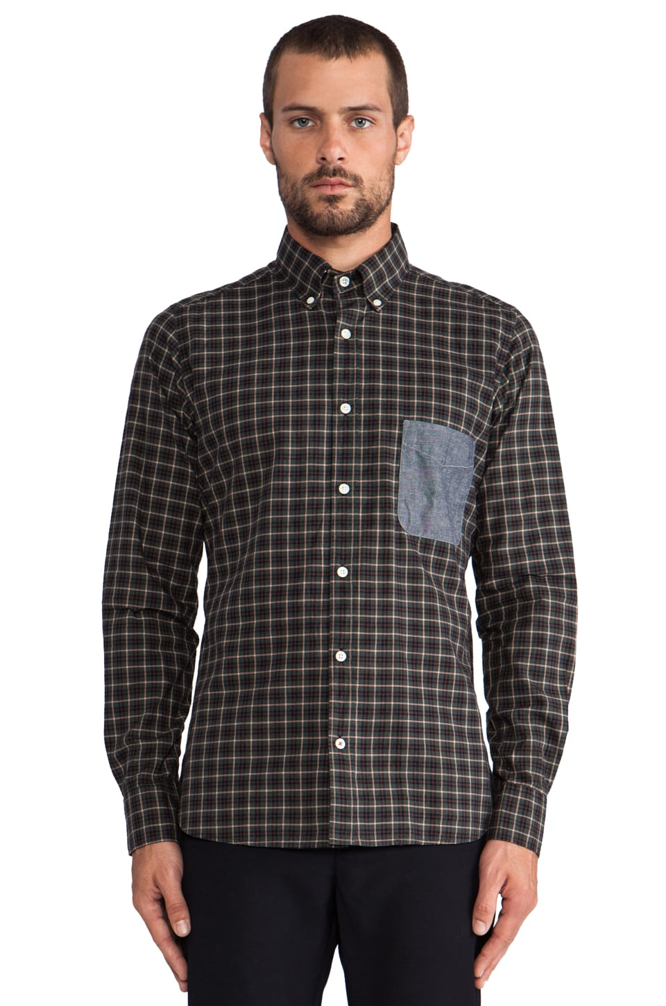 Hartford Plaid Button Down in Green/ Multi