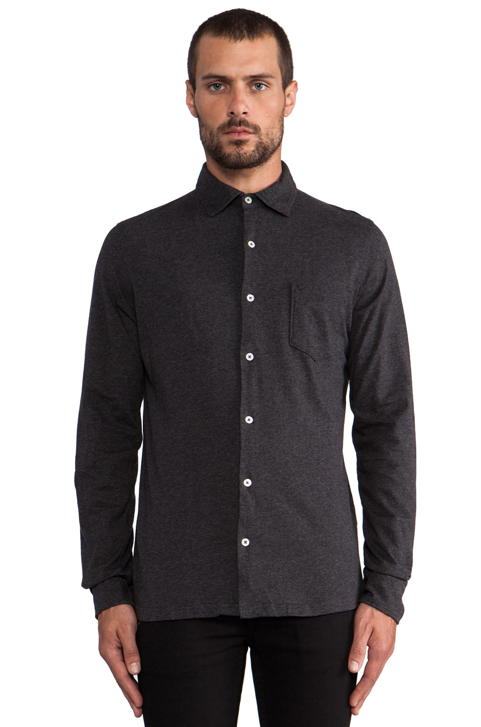 Hartford Button Front Shirt in Charcoal
