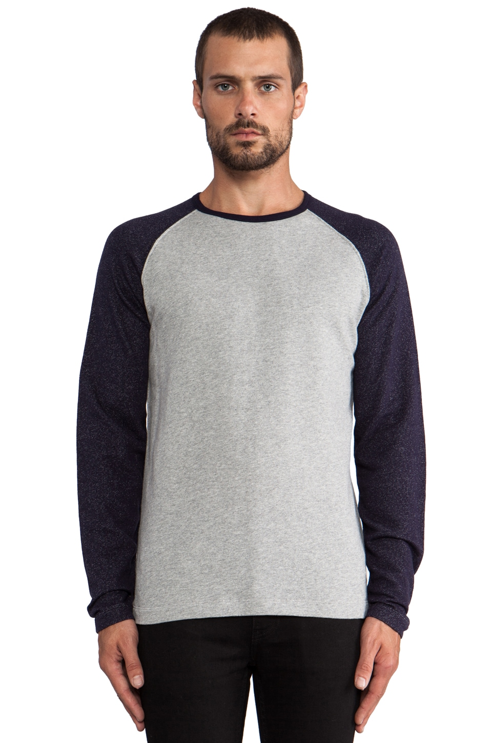 Hartford Raglan Tee in Grey/ Navy