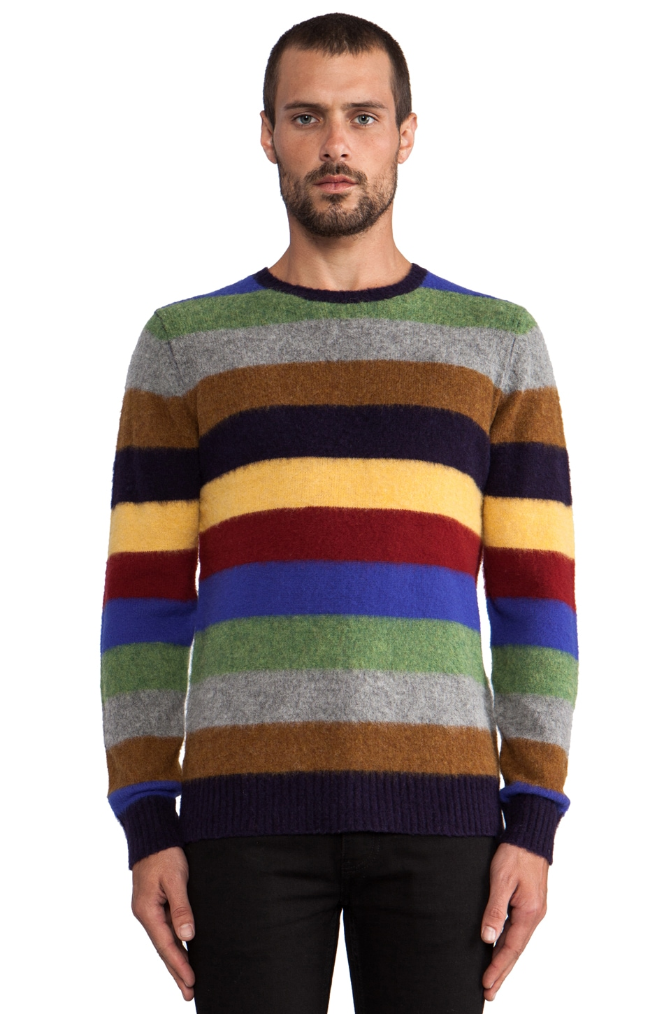 Hartford Shetland Striped Crew in Multi