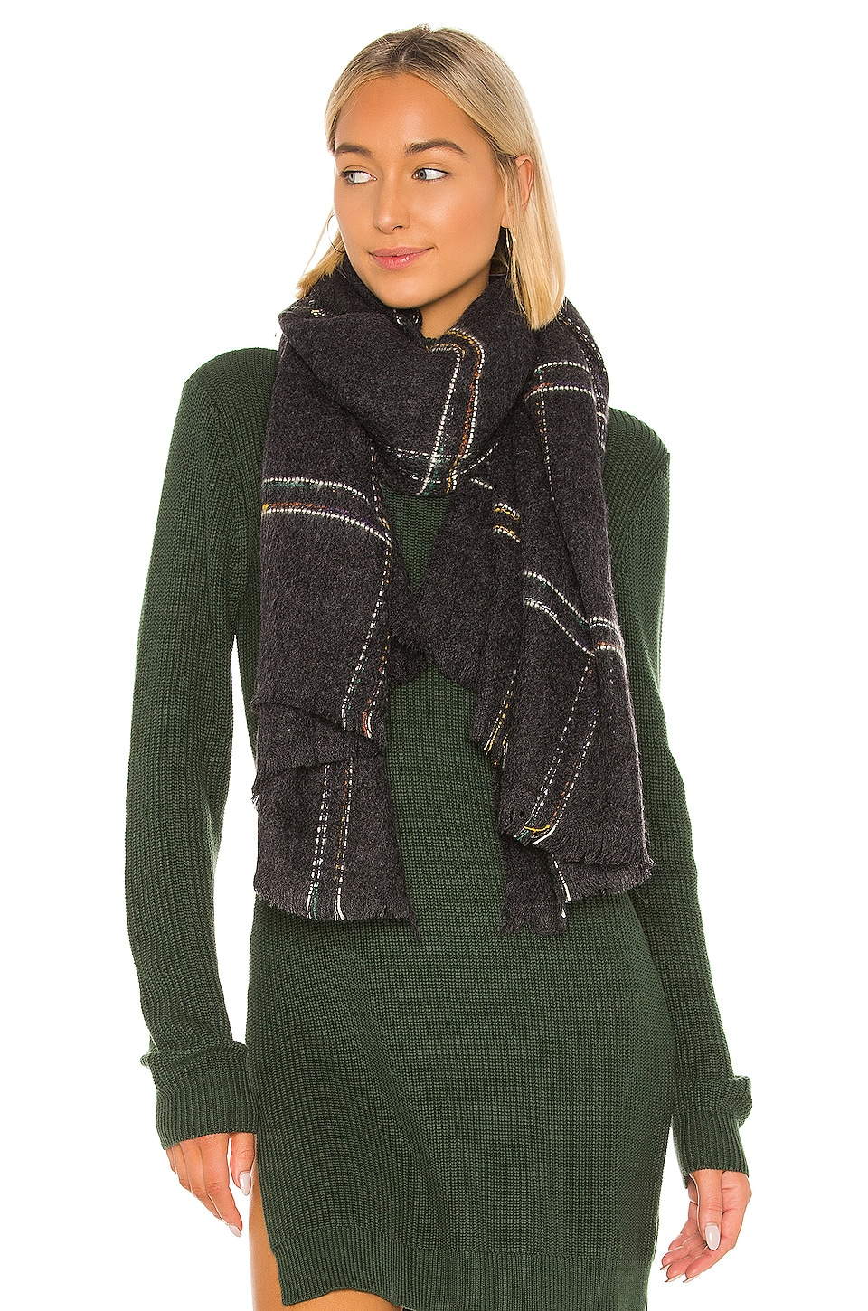 Hat Attack Windowpane Blanket Scarf in Charcoal