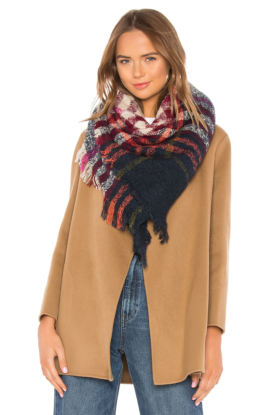 Hat Attack Bright Plaid Scarf in Navy